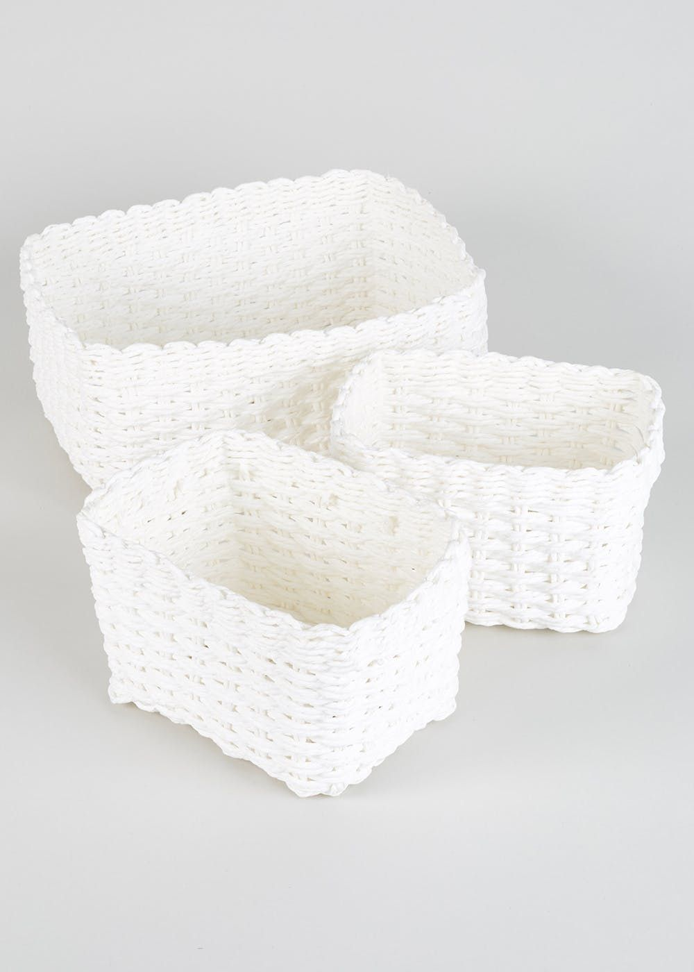 Set Of 3 Paper Rope Storage Baskets Cream Bathroom intended for size 1000 X 1400