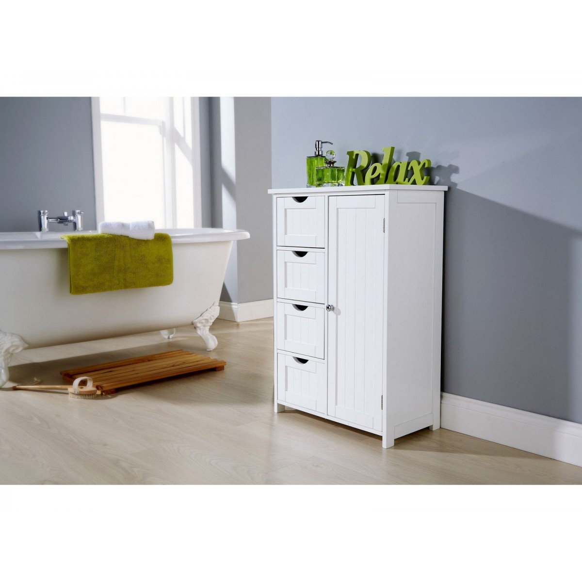 Shaker Style 4 Drawer 1 Door White Bathroom Storage Cabinet with dimensions 1200 X 1200