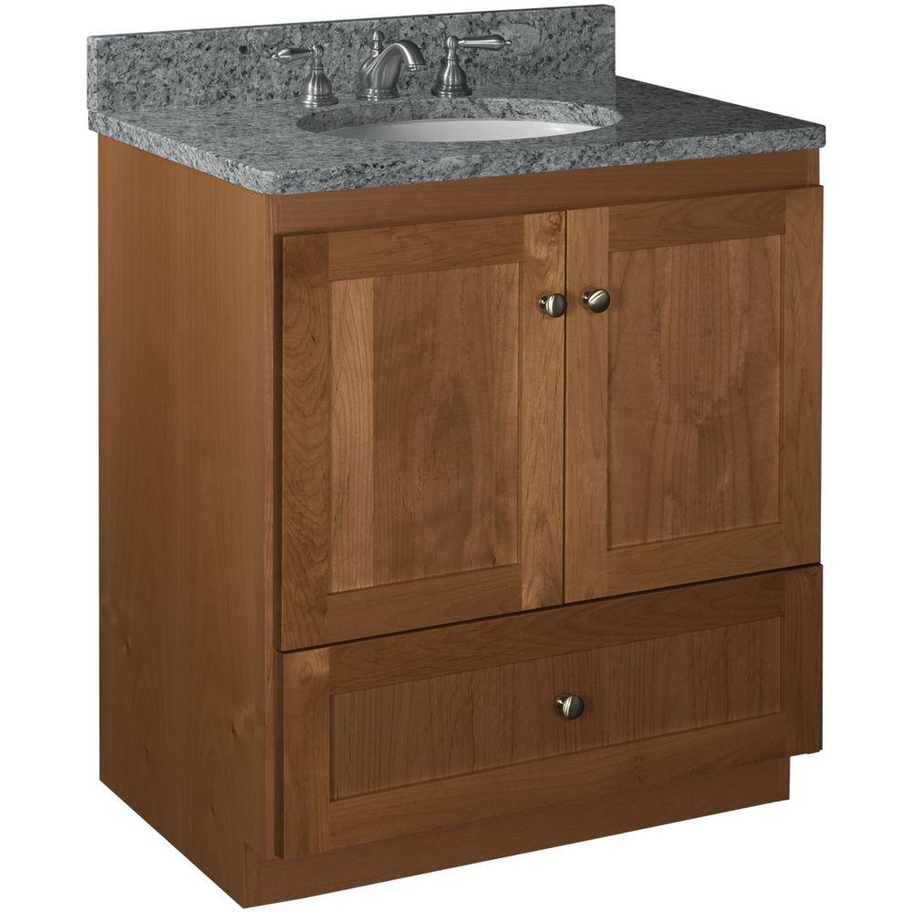 Simplicity Strasser Shaker 30 In W X 21 In D X 345 In H Vanity With No Side Drawers Cabinet Only In Medium Alder within measurements 1000 X 1000
