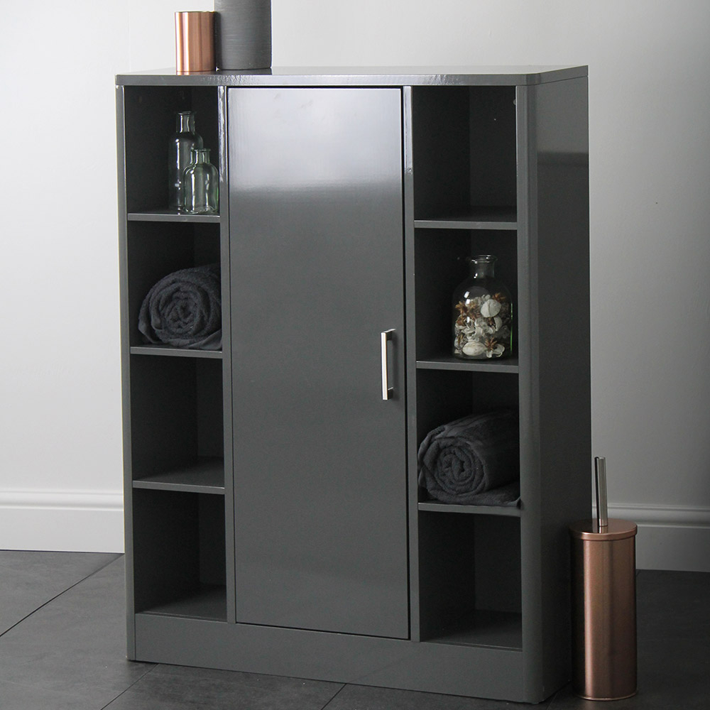 Sleek Grey Bathroom Storage Console Cupboard Unit in size 1000 X 1000