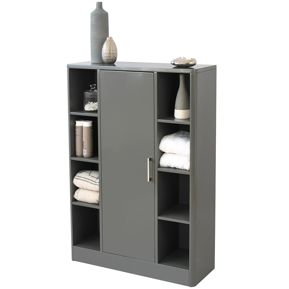 Sleek Grey Bathroom Storage Console Cupboard Unit regarding sizing 1000 X 1000