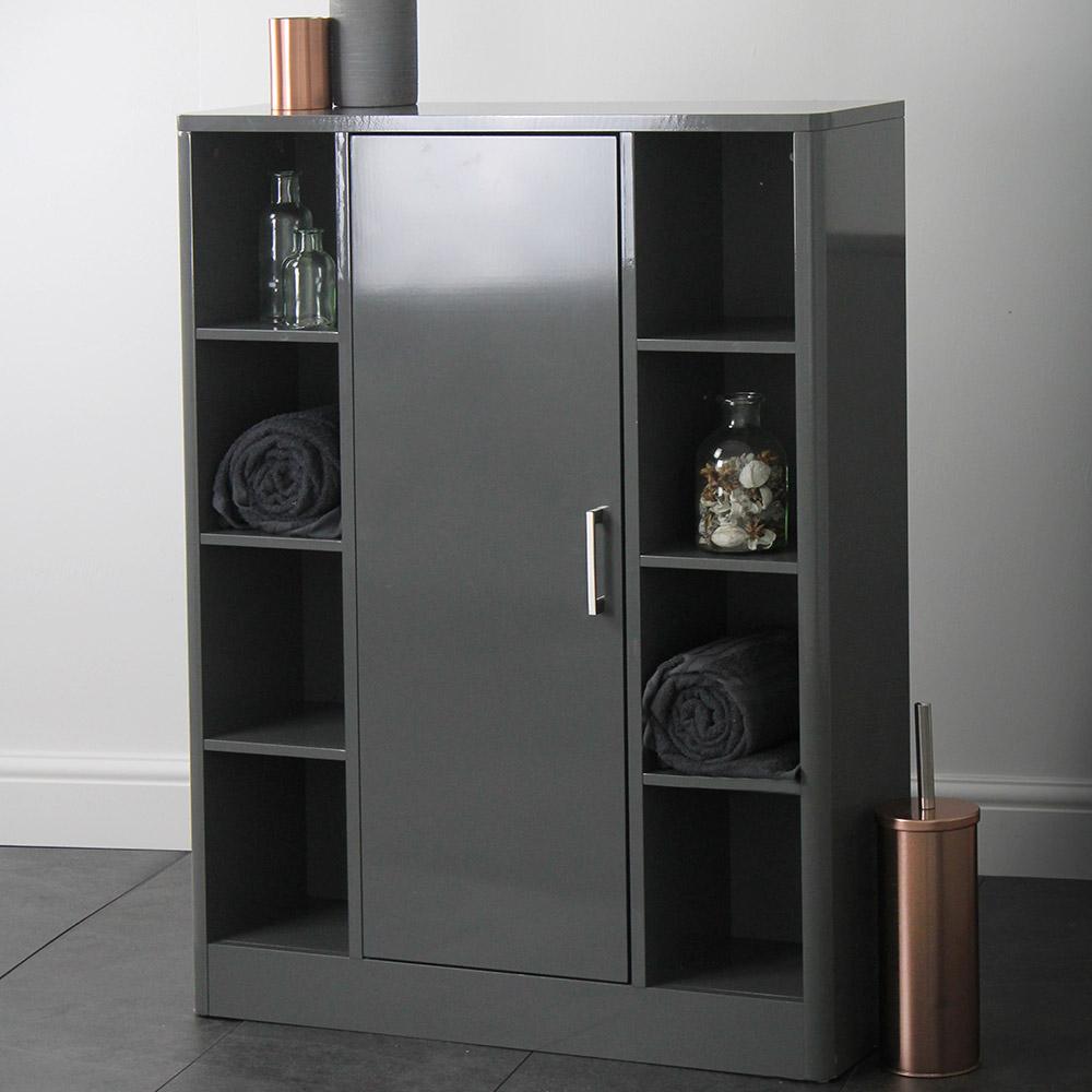 Sleek Grey Bathroom Storage Console Cupboard Unit with size 1000 X 1000