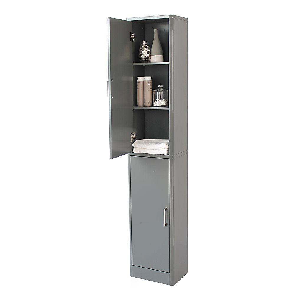 Sleek Grey Gloss Mirrored Tallboy Storage Cabinet inside size 1000 X 1000