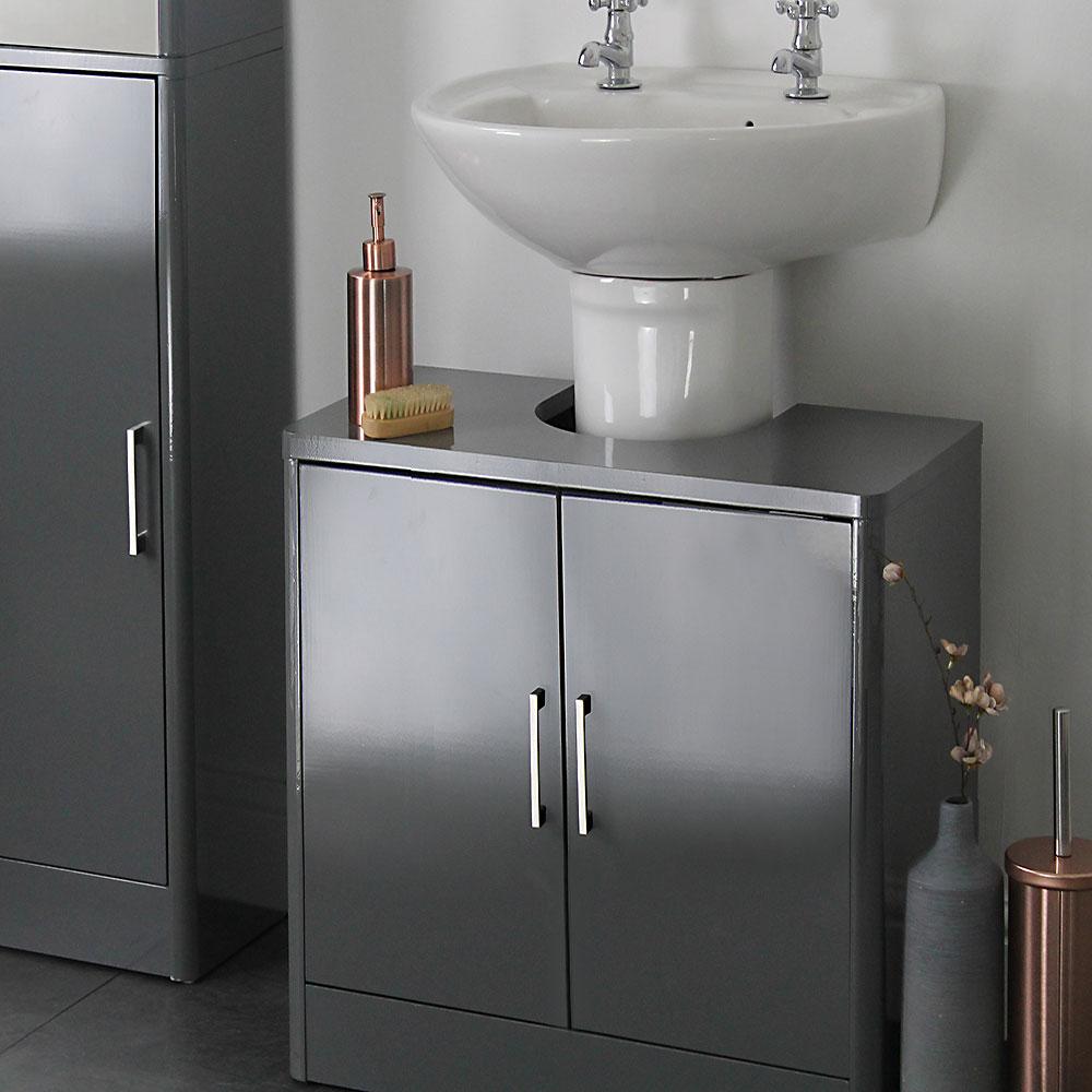 Sleek Grey Gloss Under Sink Basin Unit in size 1000 X 1000