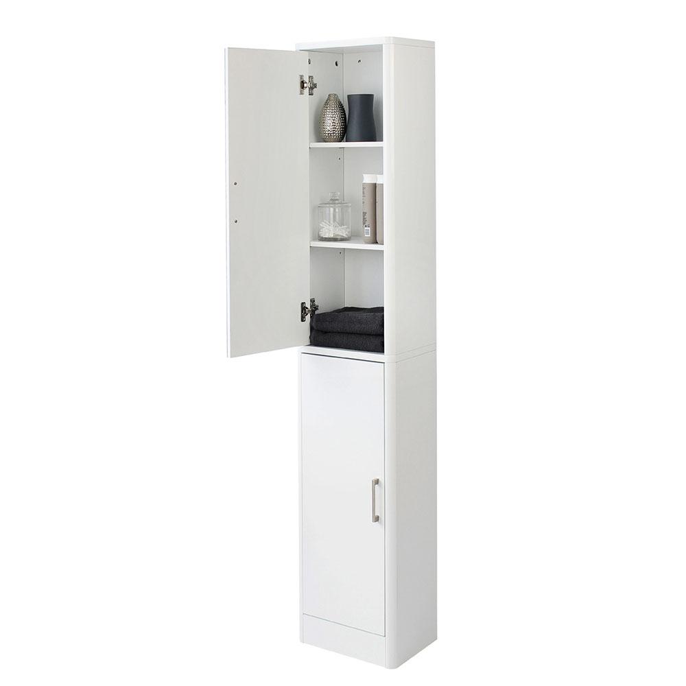 Sleek White Gloss Mirrored Tallboy Storage Cabinet pertaining to size 1000 X 1000