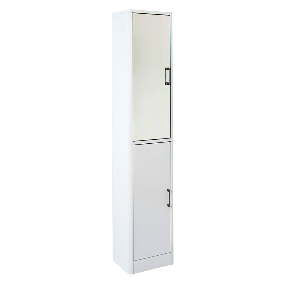 Sleek White Gloss Mirrored Tallboy Storage Cabinet with regard to size 1000 X 1000