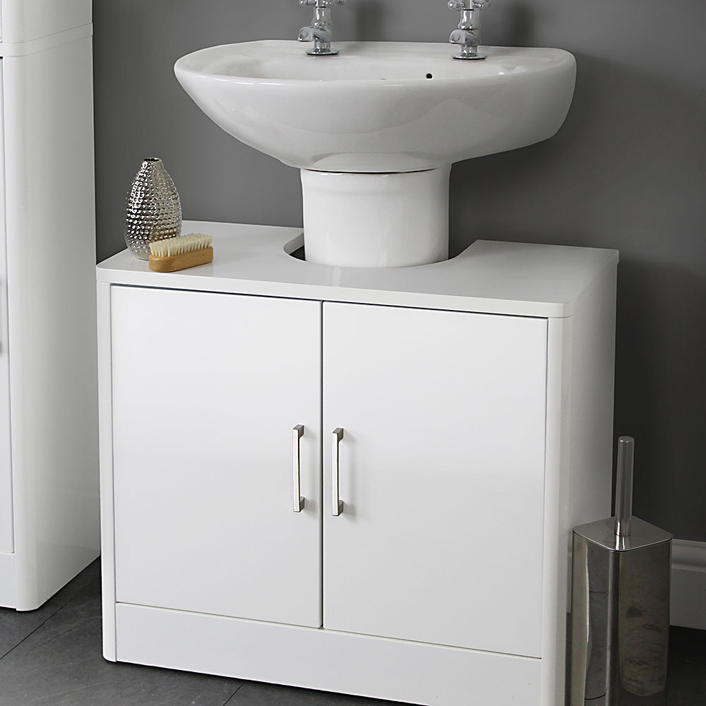 Sleek White Gloss Under Sink Basin Unit with regard to measurements 1000 X 1000