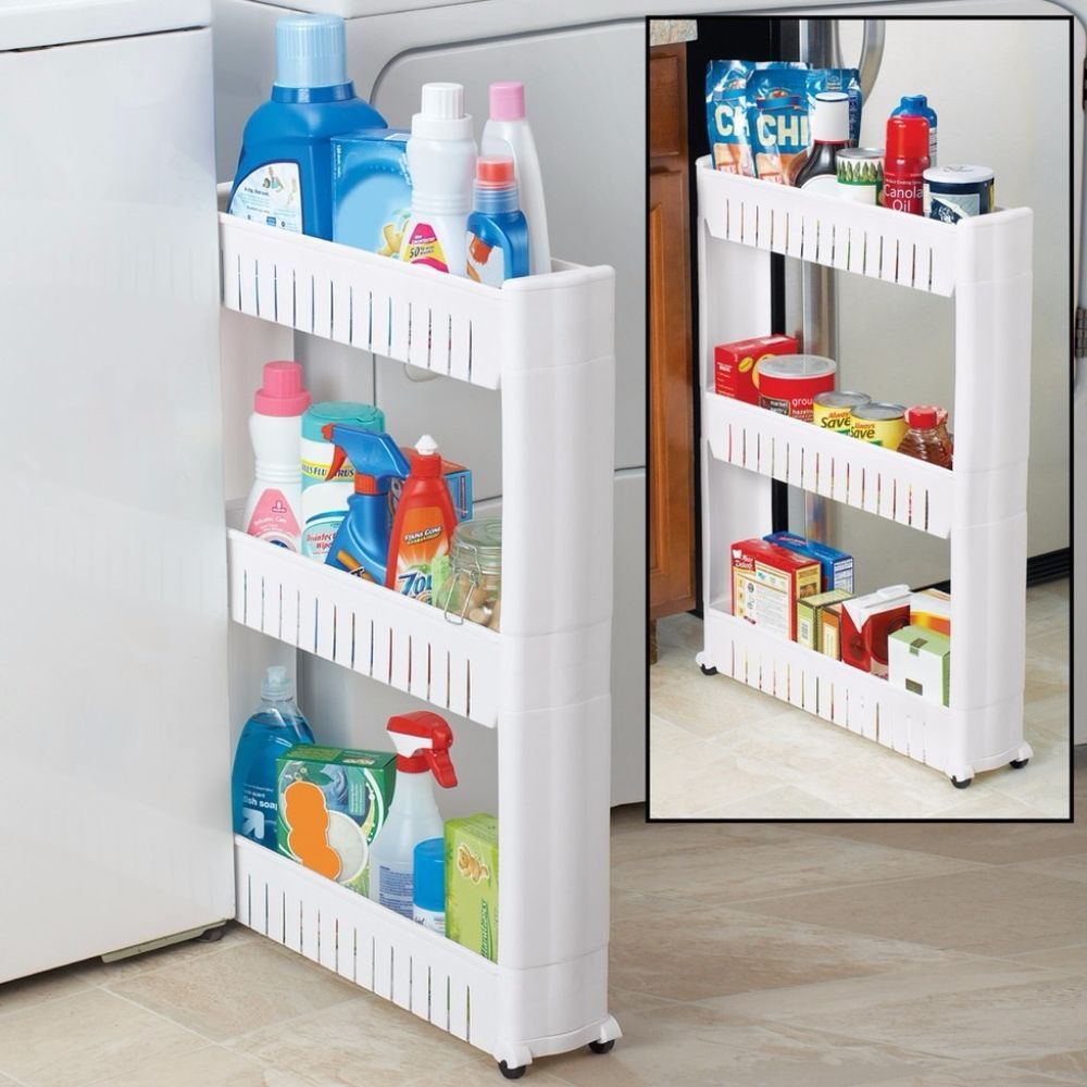 Slide Out Storage Tower Kitchen Slim Rack 3 Tier Rolling with size 1000 X 1000