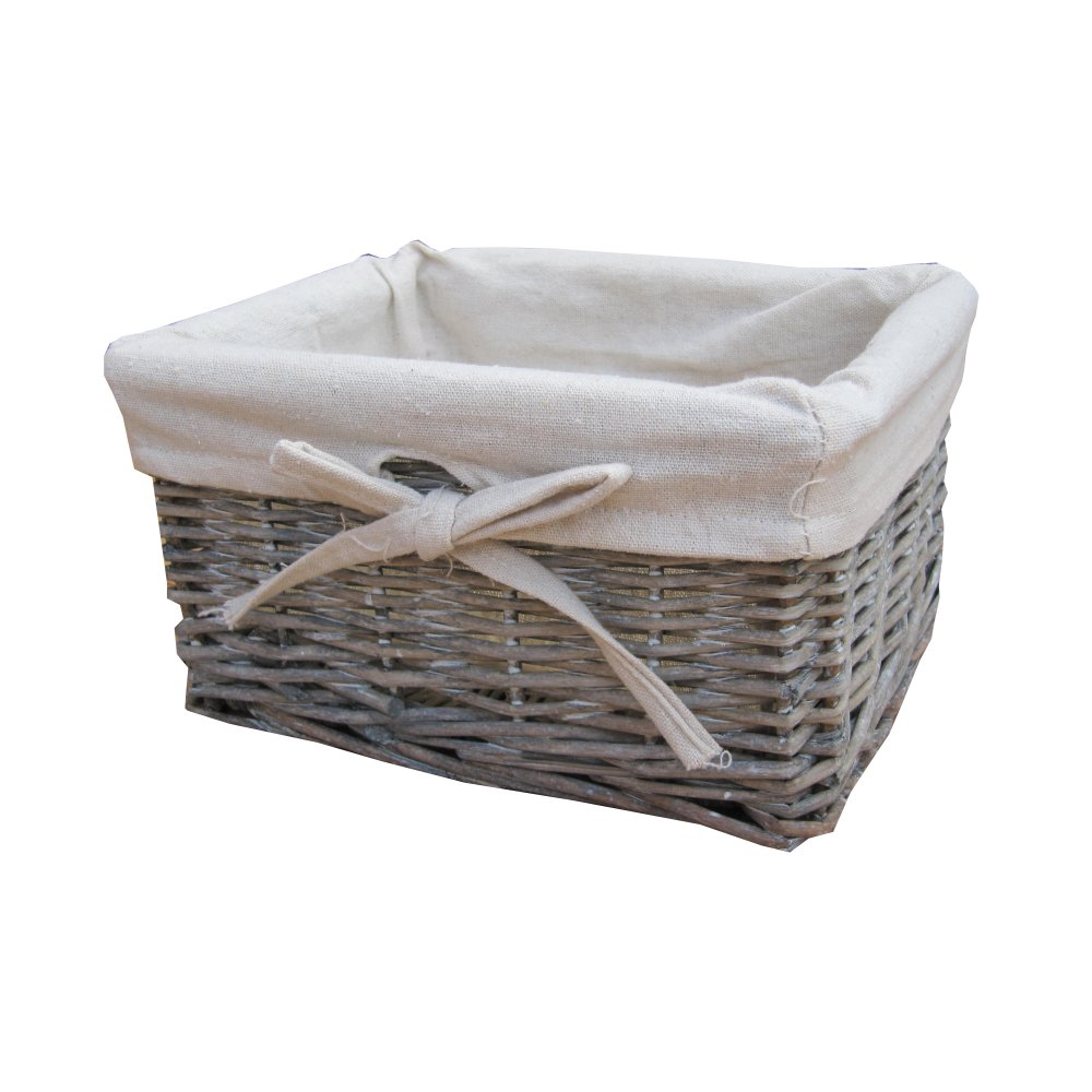 Small Grey Wash Wicker Storage Basket Lined for sizing 1000 X 1000