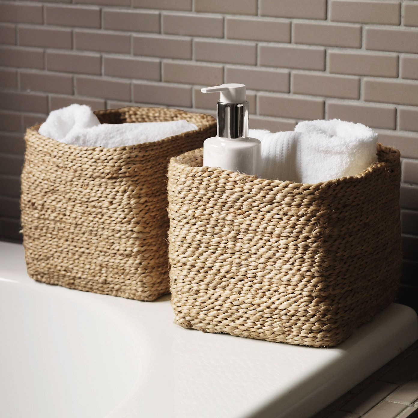 Small Jute Storage Basket Bathroom Accessories The White throughout measurements 1392 X 1392