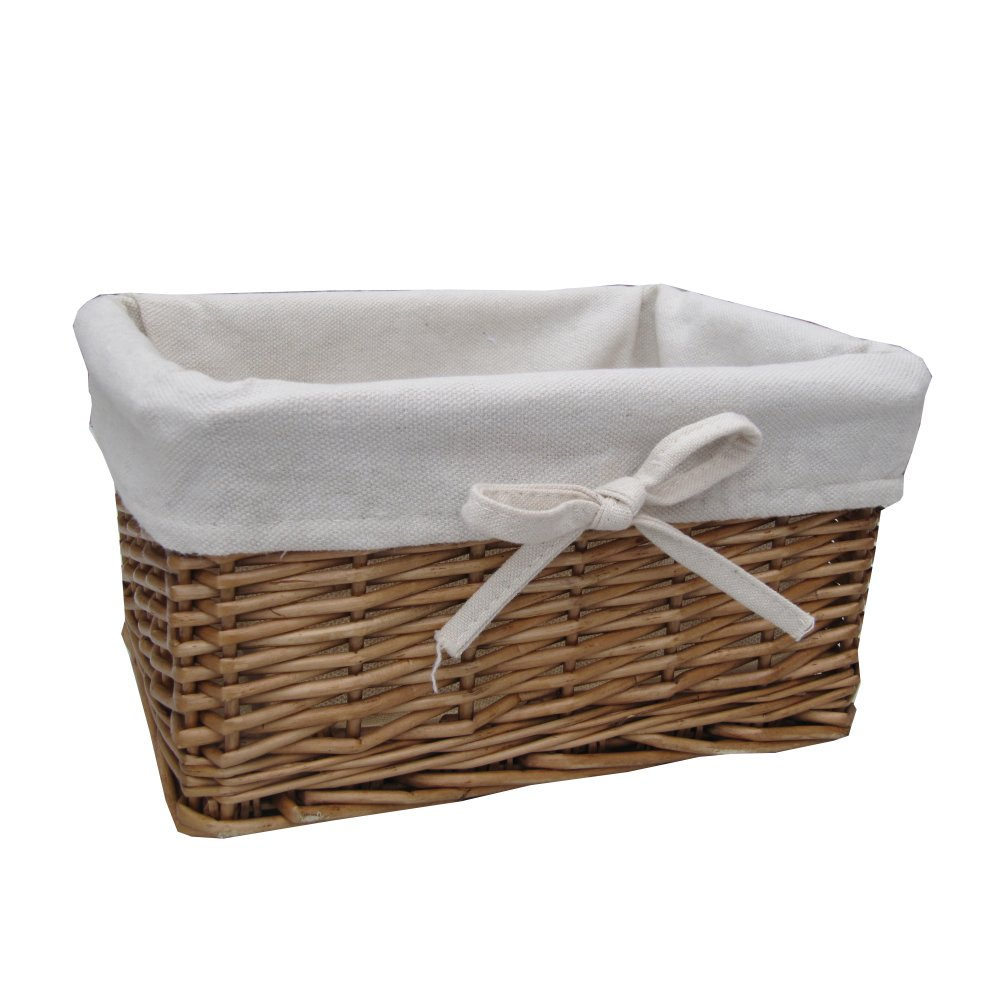 Small Natural Lined Rectangular Wicker Storage Basket inside size 1000 X 1000