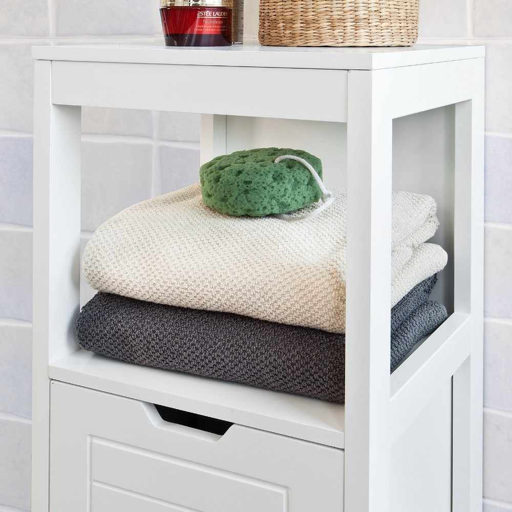 Sobuy Frg127 W White Floor Standing Bathroom Storage Cabinet Unit With 1 Shelf And 2 Drawers intended for size 1000 X 1000