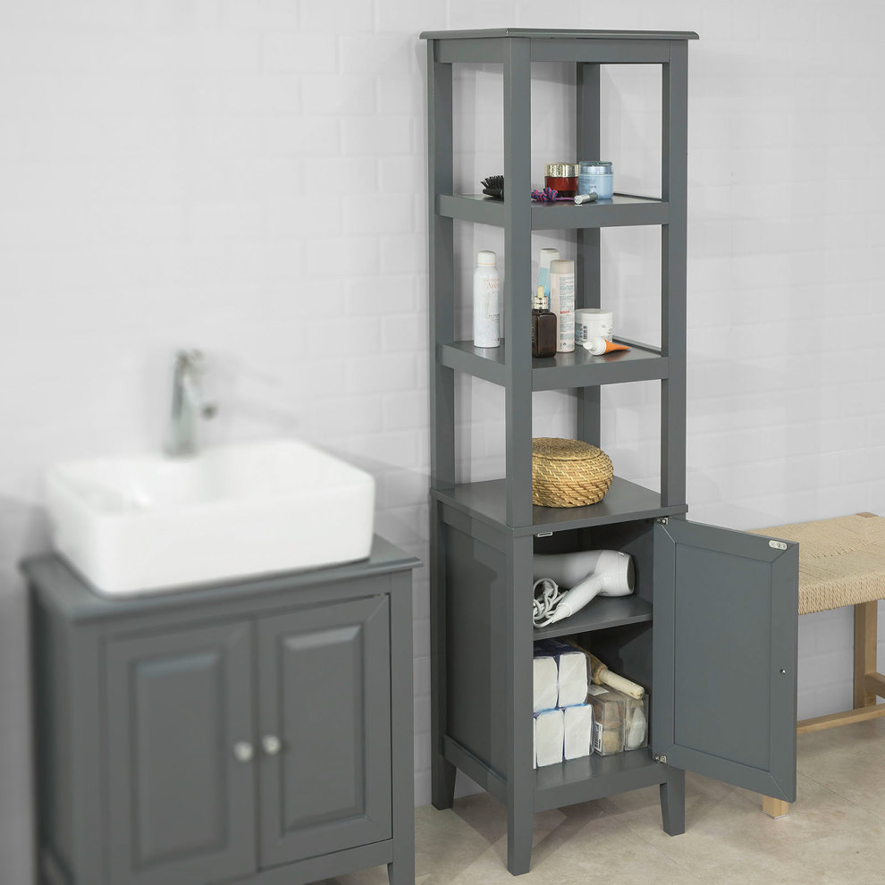 Sobuy Frg205 Dg Floor Standing Tall Bathroom Storage Cabinet intended for sizing 990 X 990