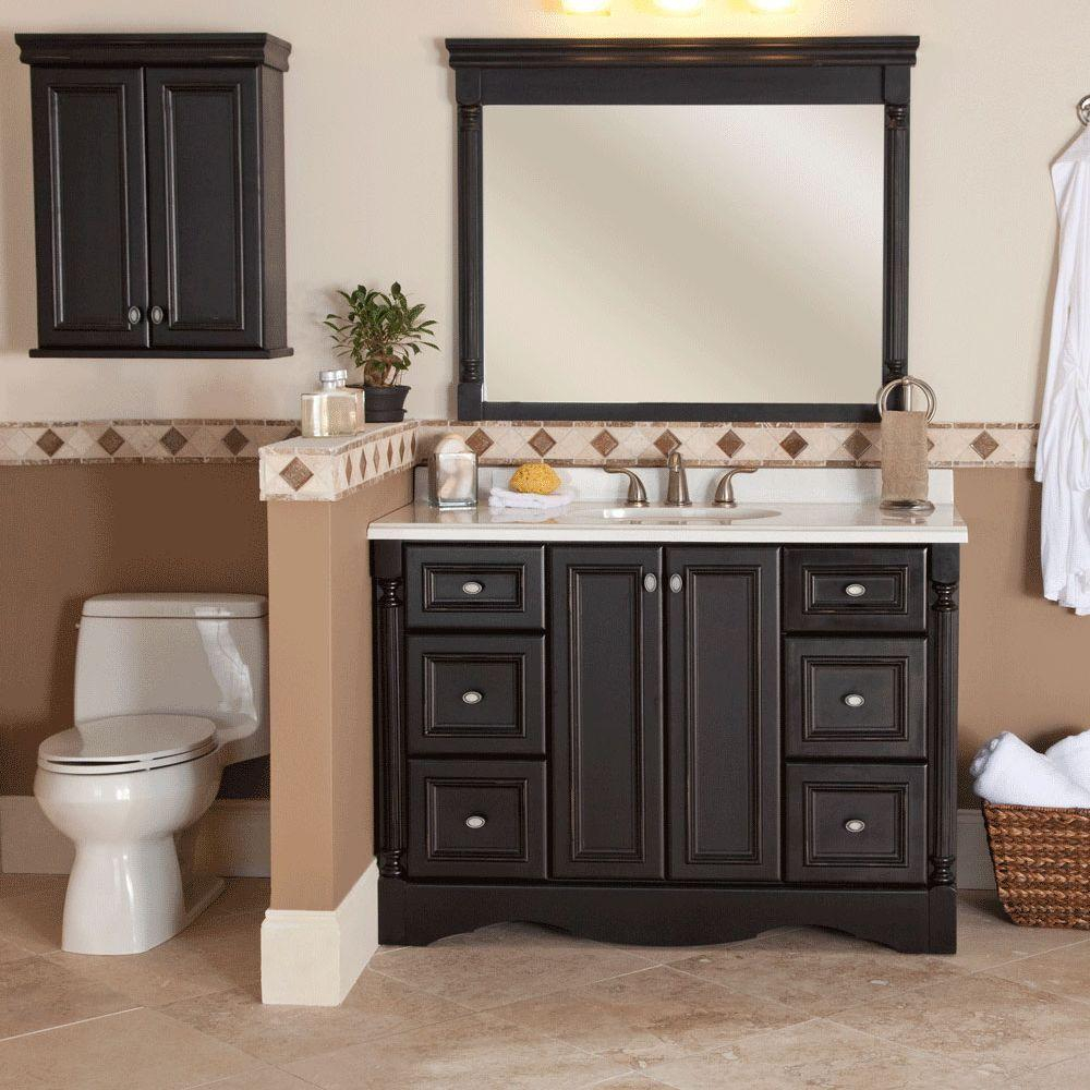 St Paul Valencia 22 In W X 28 In H X 9 In D Over The Toilet Bathroom Storage Wall Cabinet In Antique Black throughout dimensions 1000 X 1000