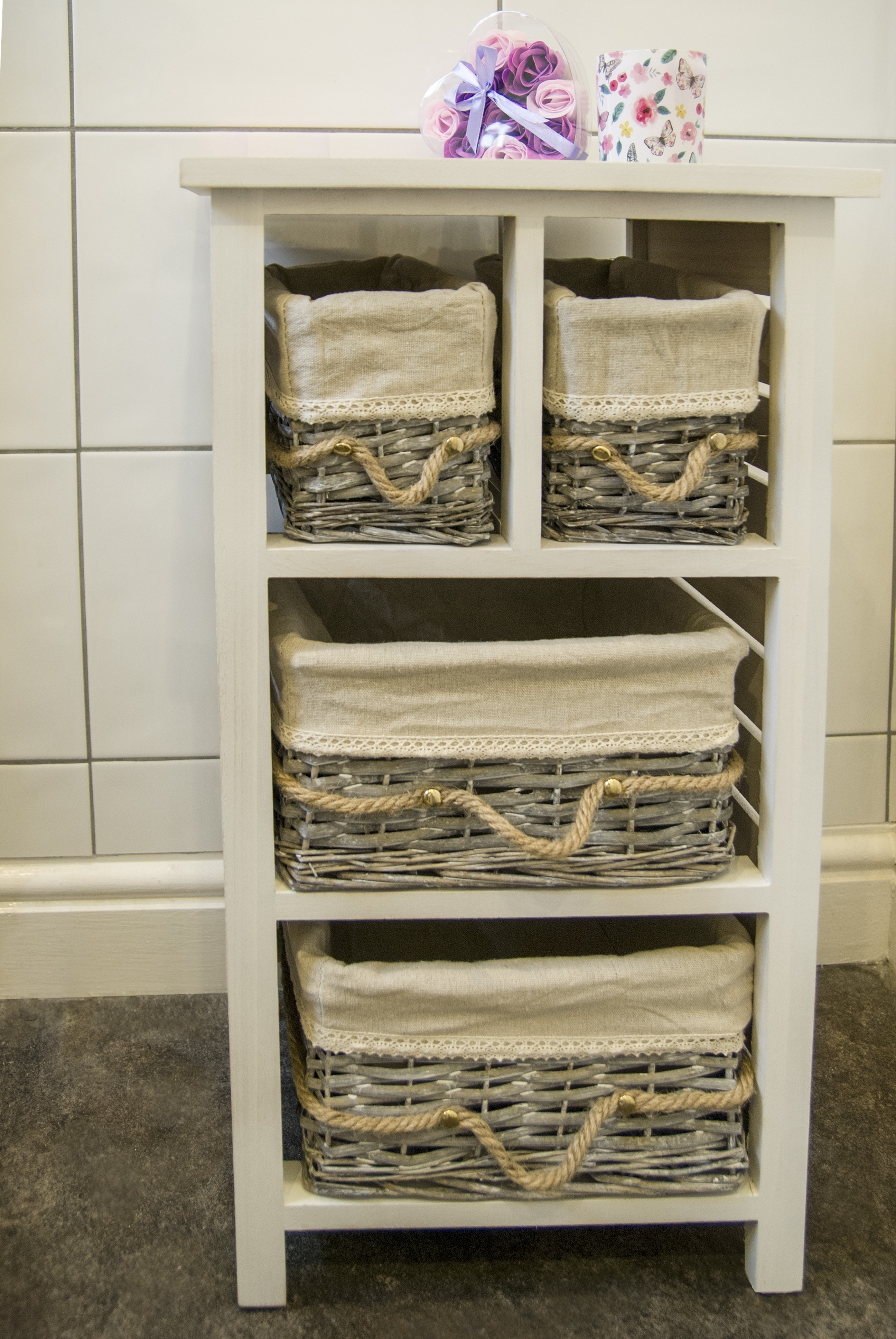 Storage 4 Drawers Whitegrey Unit Solid Wood Wicker Basket with regard to proportions 2592 X 3872