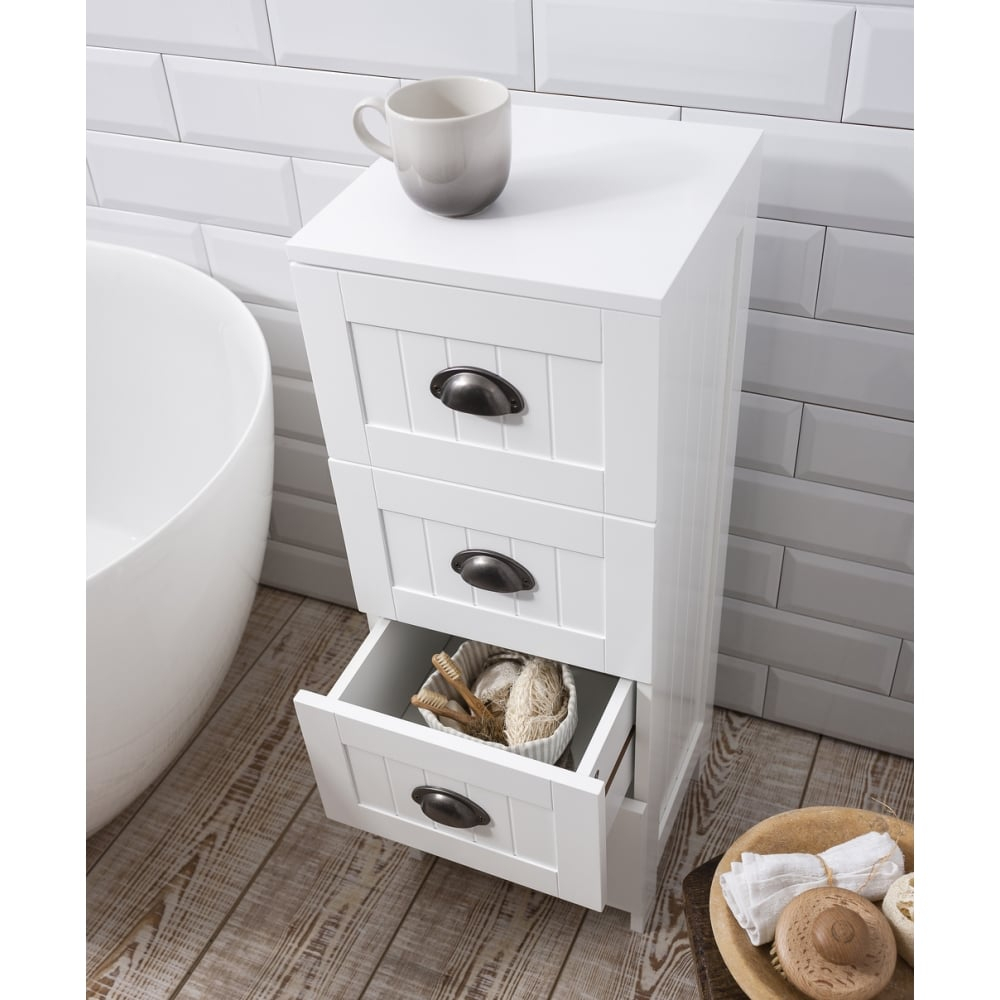 Stow Bathroom Cabinet 4 Drawer Storage Unit In White intended for sizing 1000 X 1000