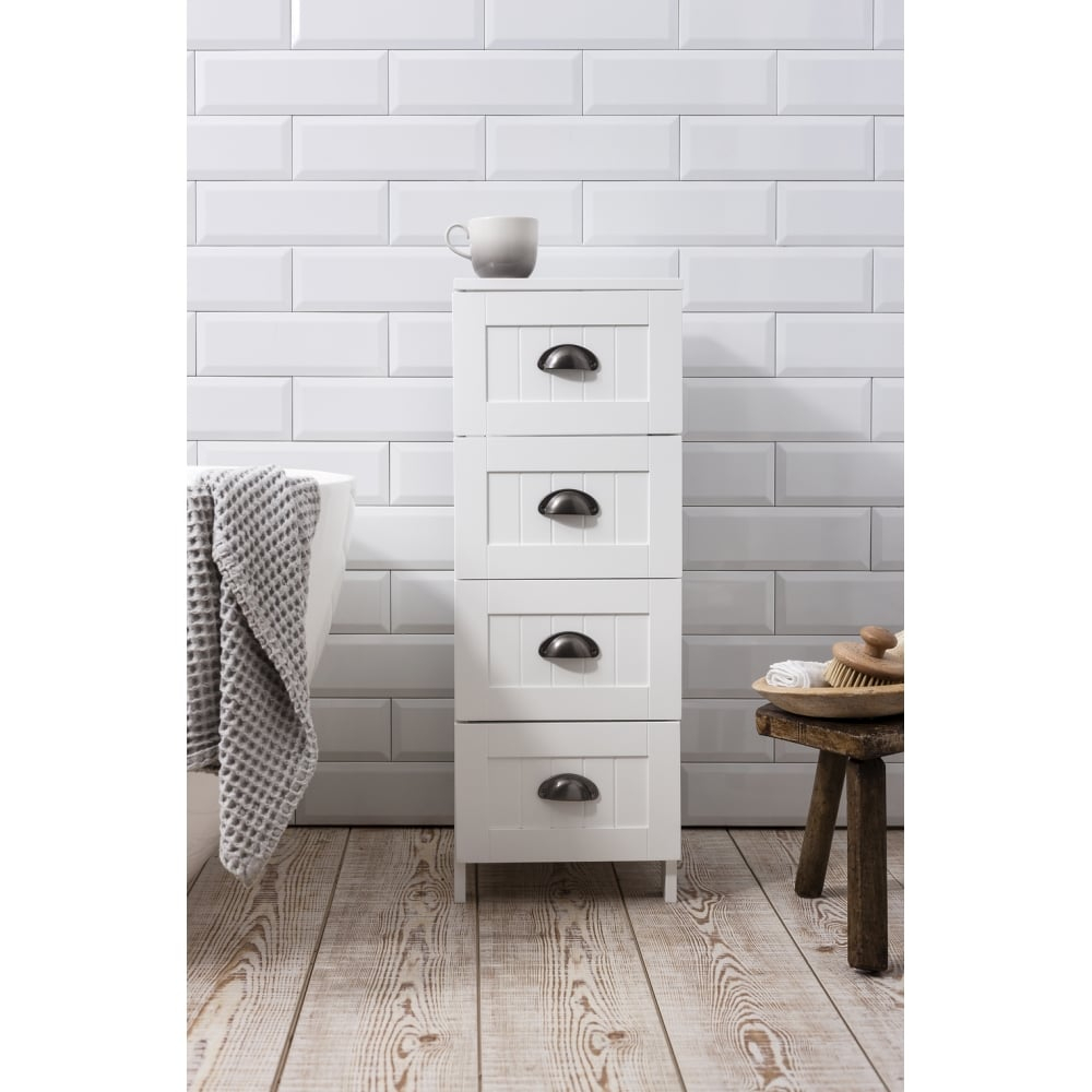 Stow Bathroom Cabinet 4 Drawer Storage Unit In White throughout size 1000 X 1000