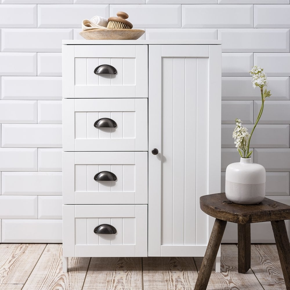 Stow Bathroom Cabinet Storage Cupboard In White intended for sizing 1000 X 1000