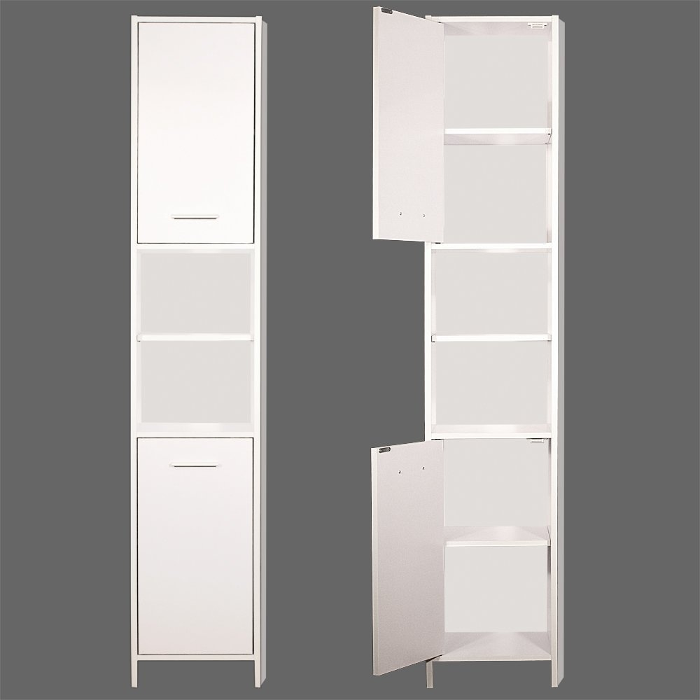 Tall Bathroom Cabinet Cupboard White Large Storage Shelf Shelves Storing Furniture Free Standing regarding size 1000 X 1000