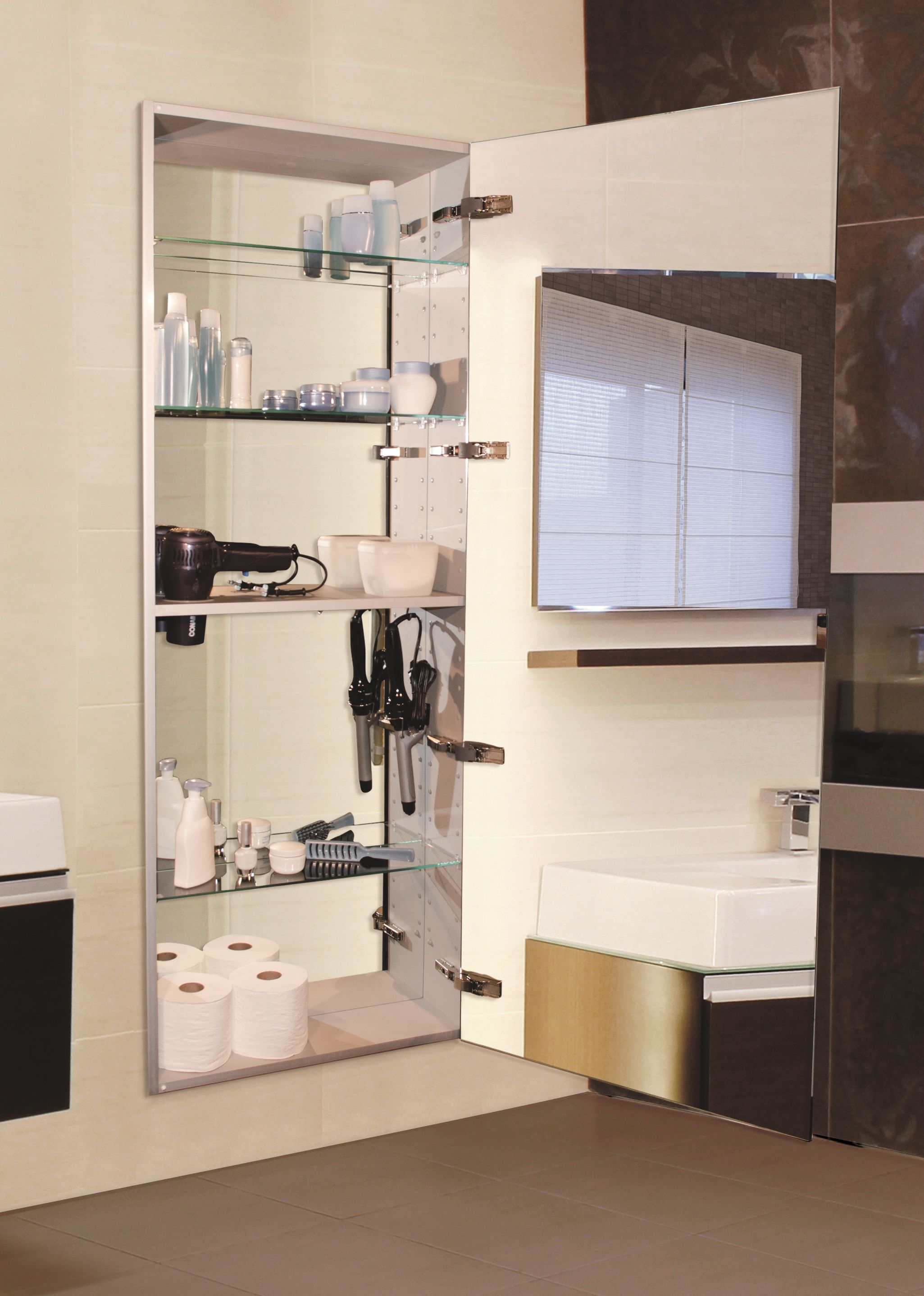 The Sidler Tall Mirror Cabinet Reveals A Styling Shelf When throughout size 2051 X 2877