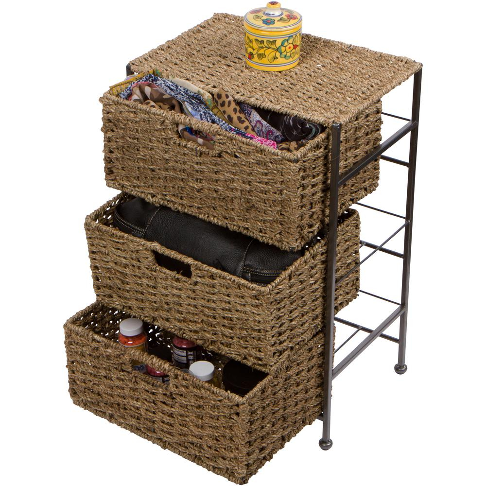 Trademark Innovations 105 In X 24 In Seagrass And Metal 3 Drawer Basket Storage Chest Side Table with regard to size 1000 X 1000