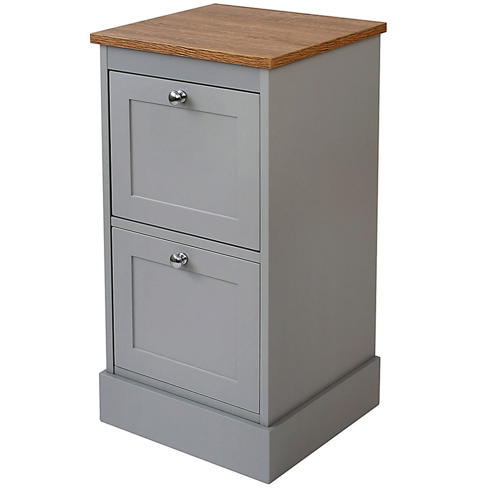 Two Tone Grey Wood Bathroom Two Drawer Floor Storage Cabinet regarding proportions 990 X 990