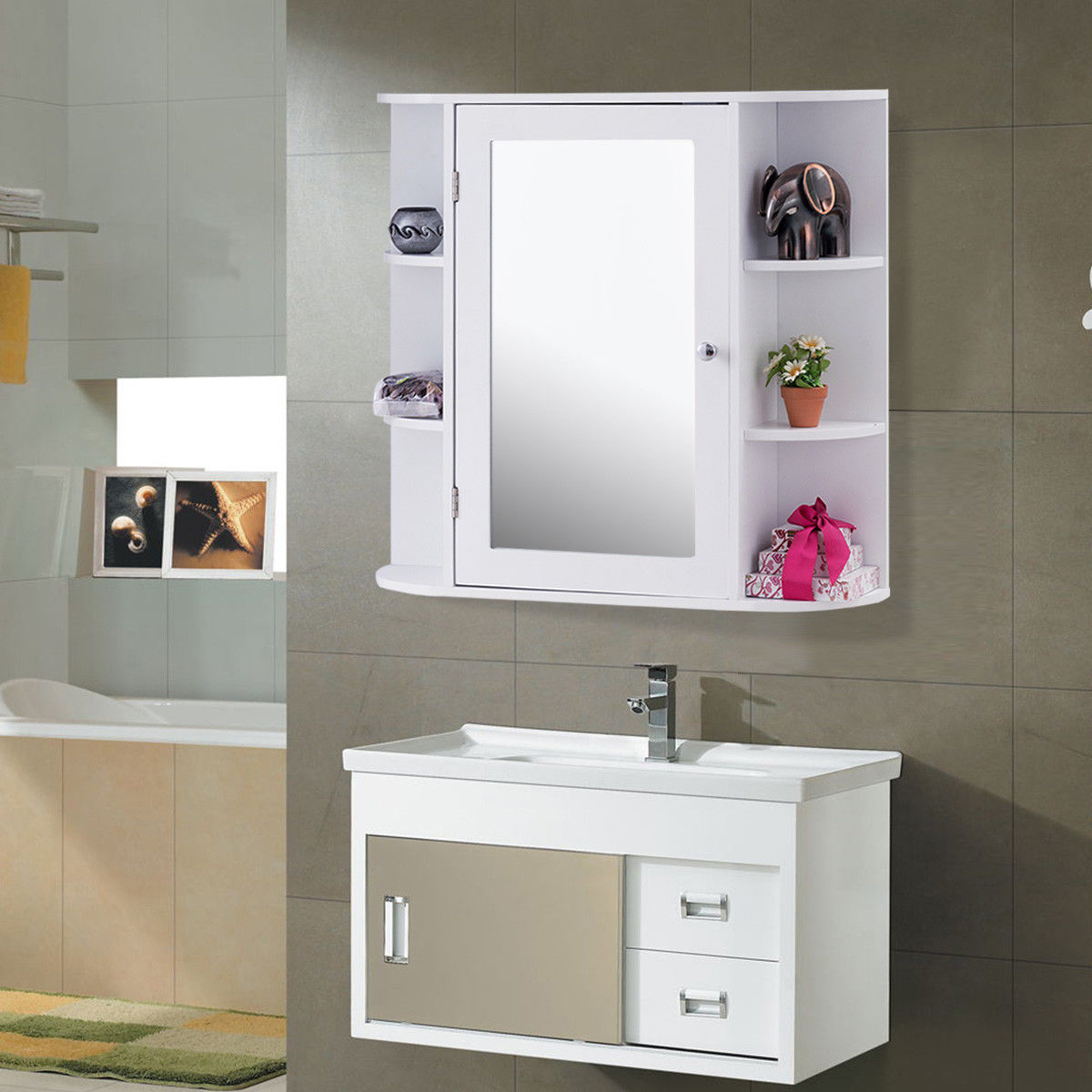 Us 12599 Giantex Multipurpose Mount Wall Surface Bathroom Storage Cabinet With Mirror White Modern Wood Bathroom Furniture Hw56729 On regarding size 1200 X 1200