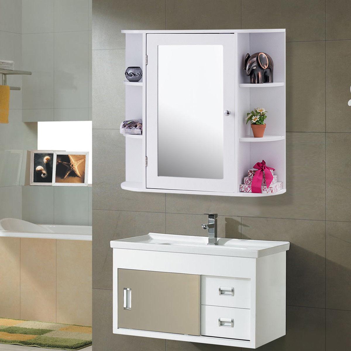 Us 12599 Giantex Multipurpose Mount Wall Surface Bathroom Storage Cabinet With Mirror White Modern Wood Bathroom Furniture Hw56729 On regarding size 1200 X 1200