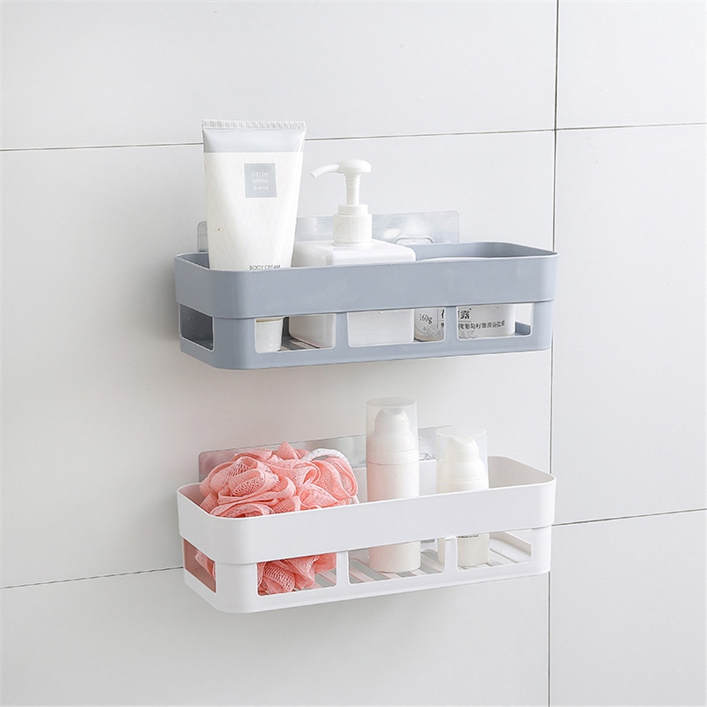 Us 298 17 Offdual Strong Suction Cup Storage Boxes Bathroom Shelf Kitchen Storage Basket Wall Mounted Holder Wall Rack Shower Organizer In Storage in proportions 1002 X 1002