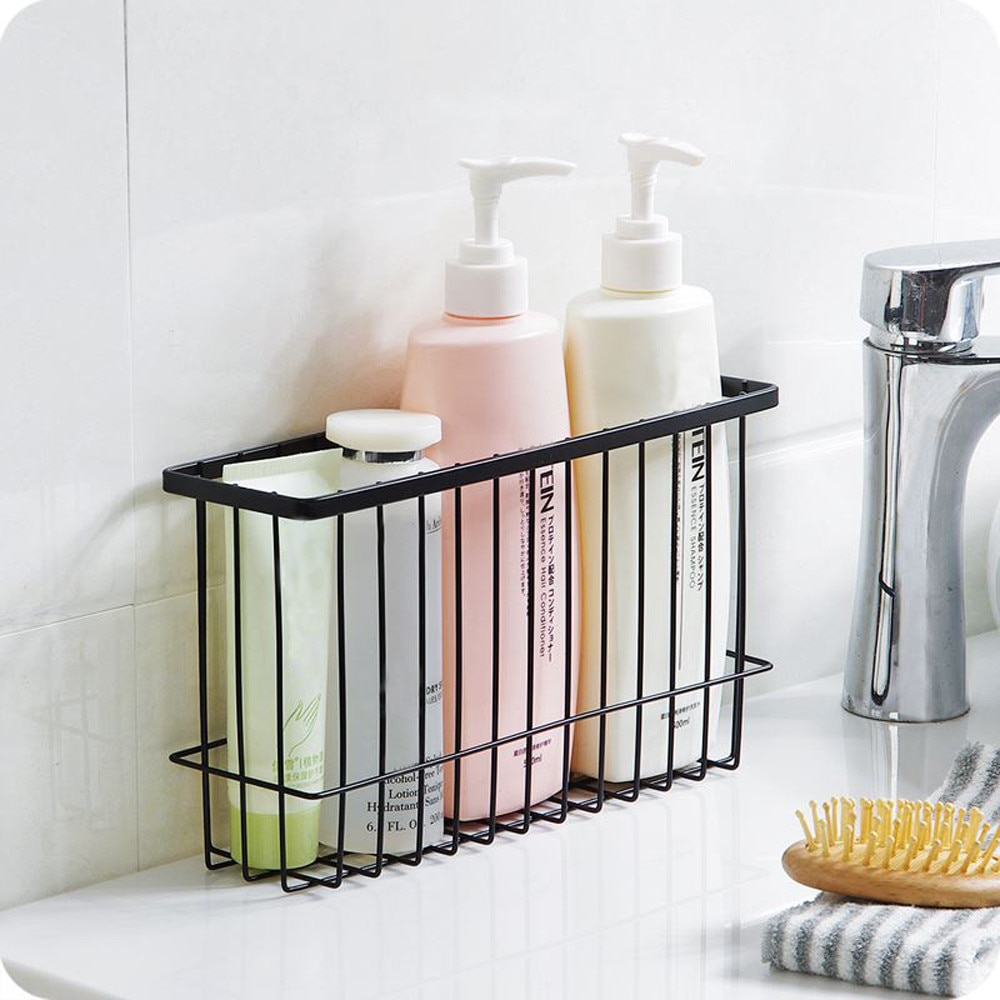 Us 945 27 Offstylish Self Adhesion Kitchen Bathroom Storage Holders Iron Wire Basket Bin Storage Rack Mesh Organizer Sundries Containers A75 In with proportions 1000 X 1000