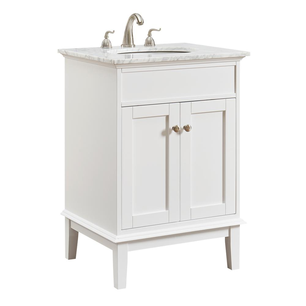 Victor 24 In Single Bathroom Vanity With 1 Shelf 2 Doors Marble Top Porcelain Sink In White Finish in sizing 1000 X 1000