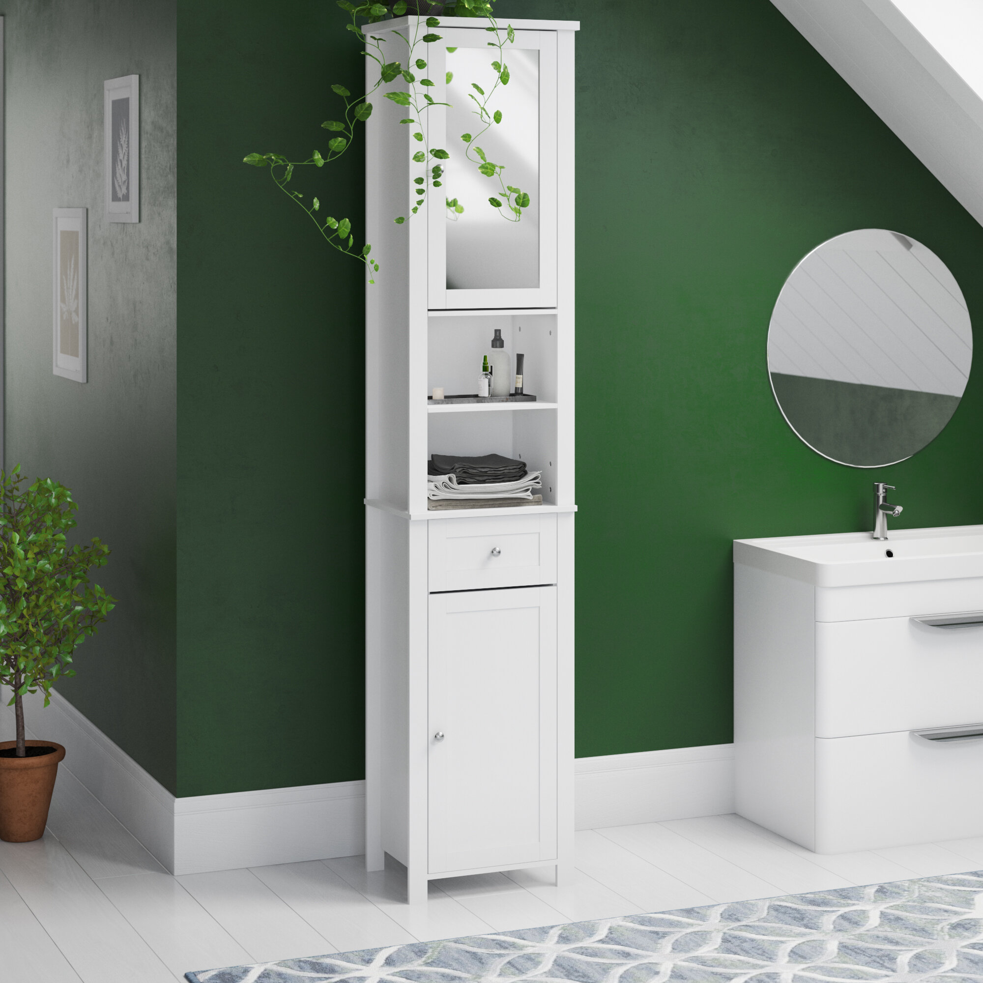 Vida Milano 40 X 190cm Mirrored Free Standing Tall Bathroom Cabinet for size 2000 X 2000