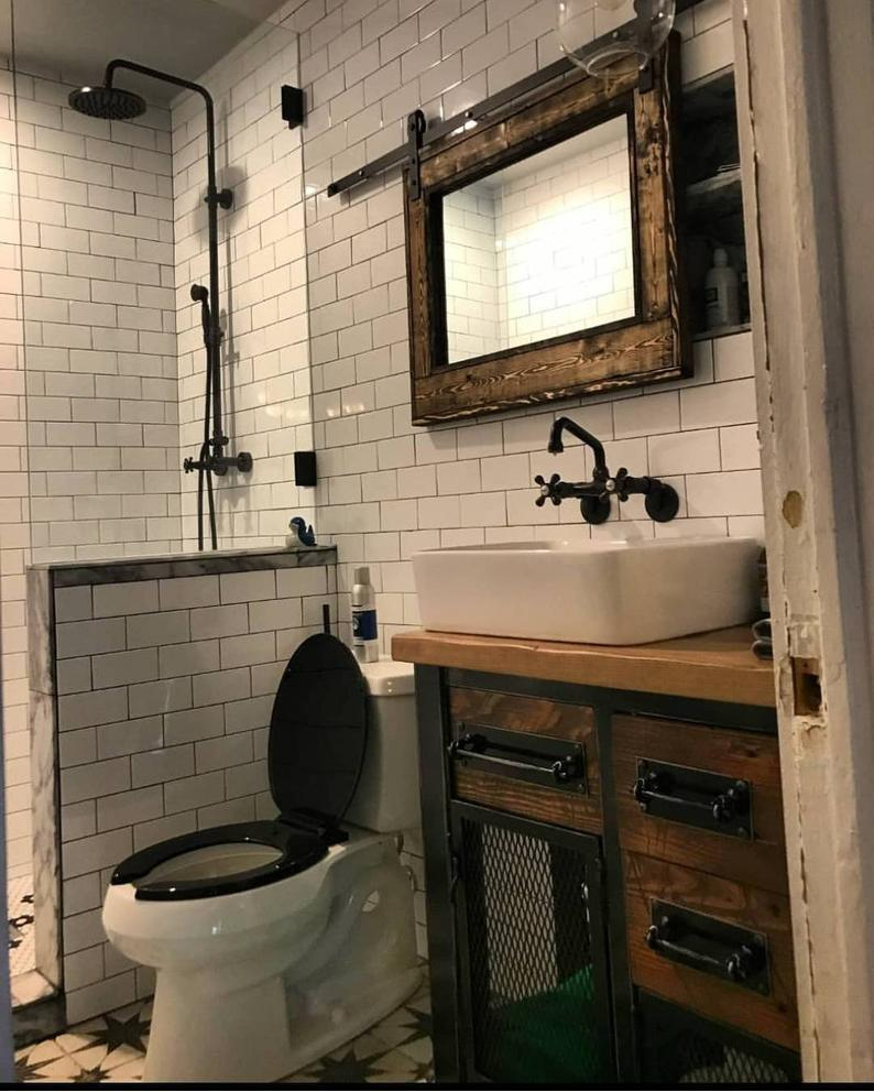 Vintage Industrial Bathroom Vanity Storage Cabinet With Reclaimed Wood And Hardwood Top Free Shipping within measurements 794 X 992