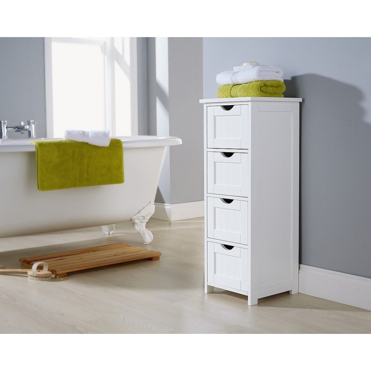 White 4 Drawer Standing Bathroom Storage Rack intended for size 1200 X 1200