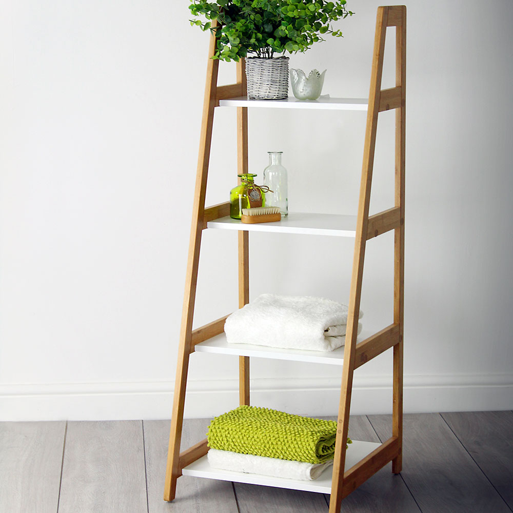 White Bamboo 4 Tier Ladder Shelving Unit throughout sizing 1000 X 1000