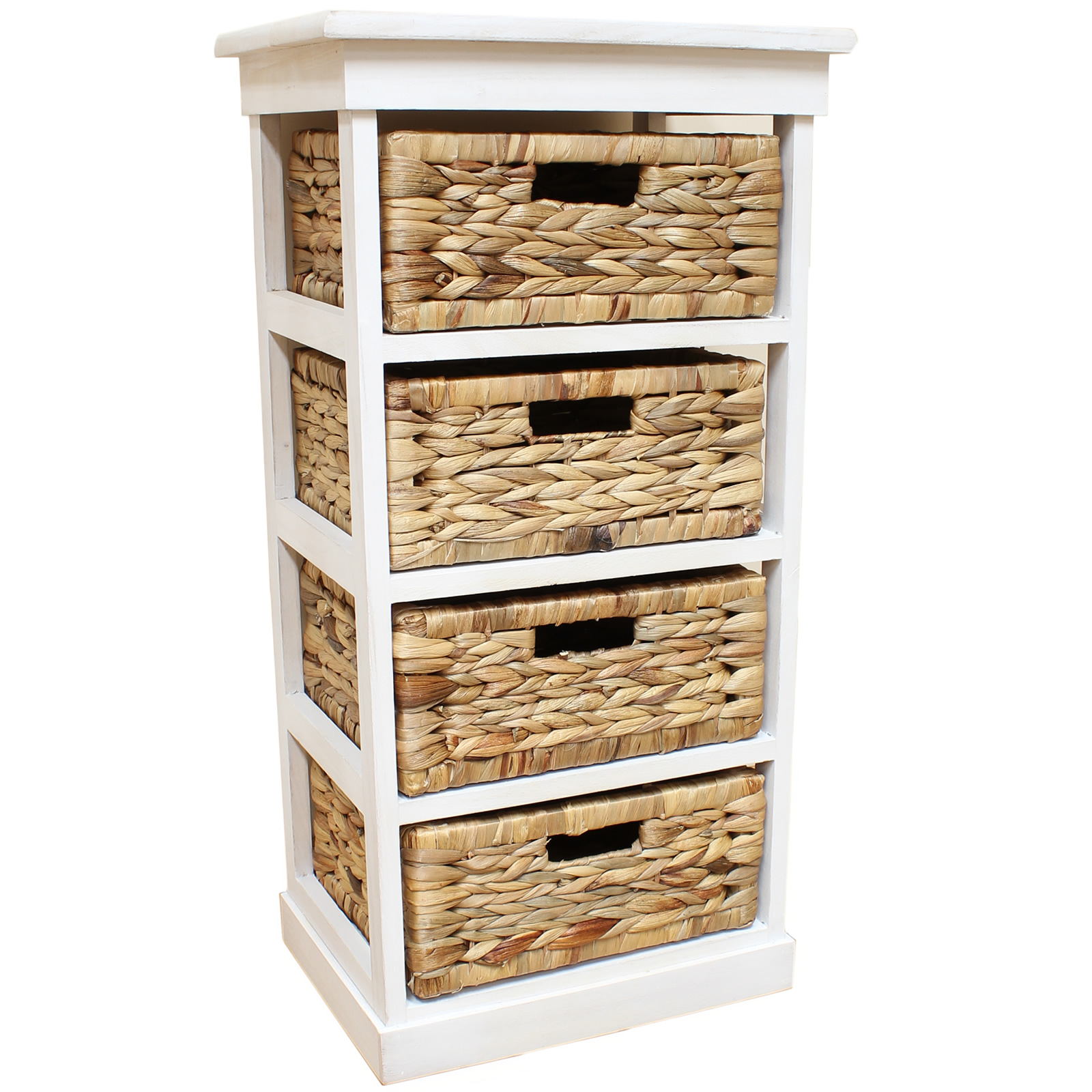 White Seagrass Basket Drawer Chest Storage Cabinetunit Home for proportions 1600 X 1600