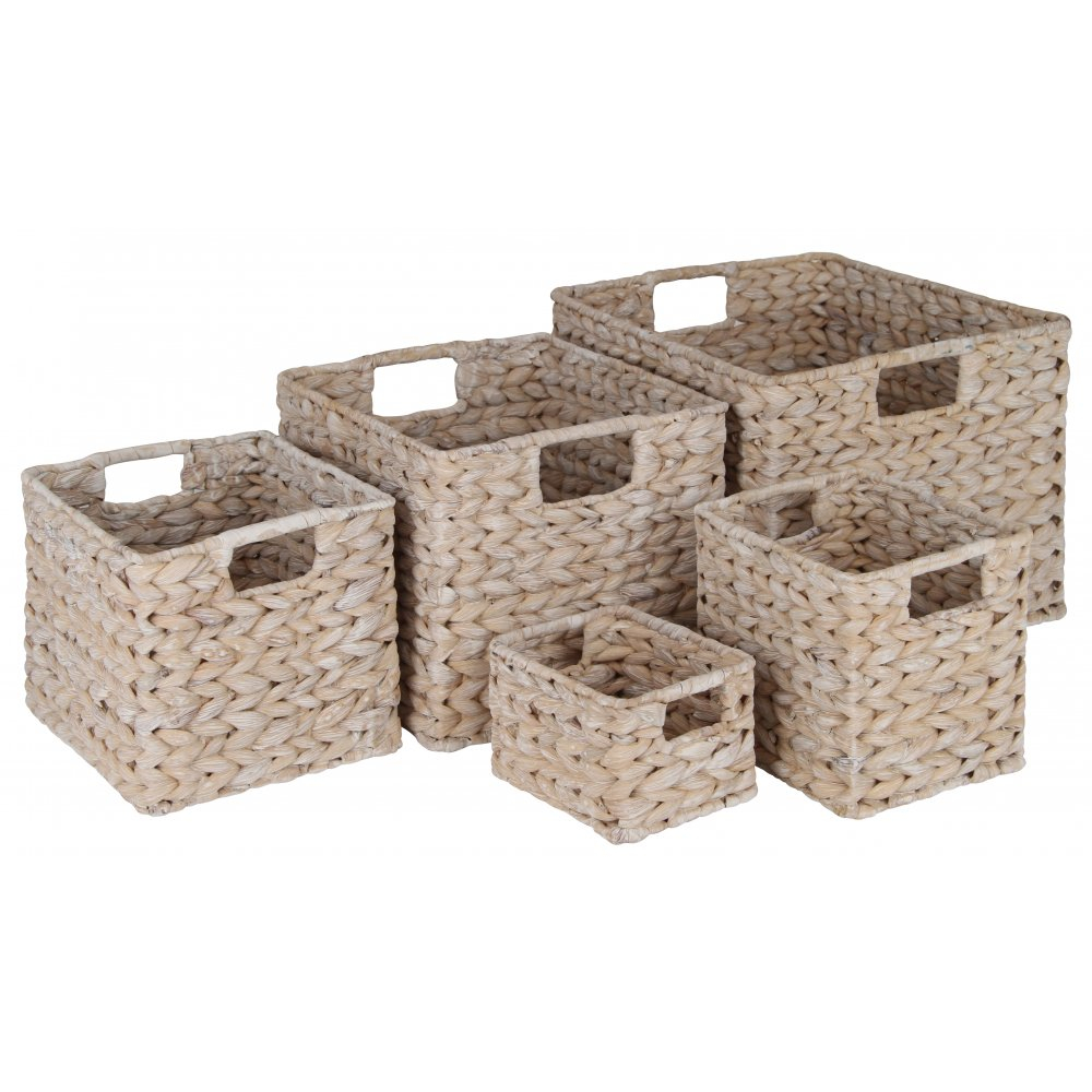 White Water Hyacinth Rectangular Storage Baskets within proportions 1000 X 1000