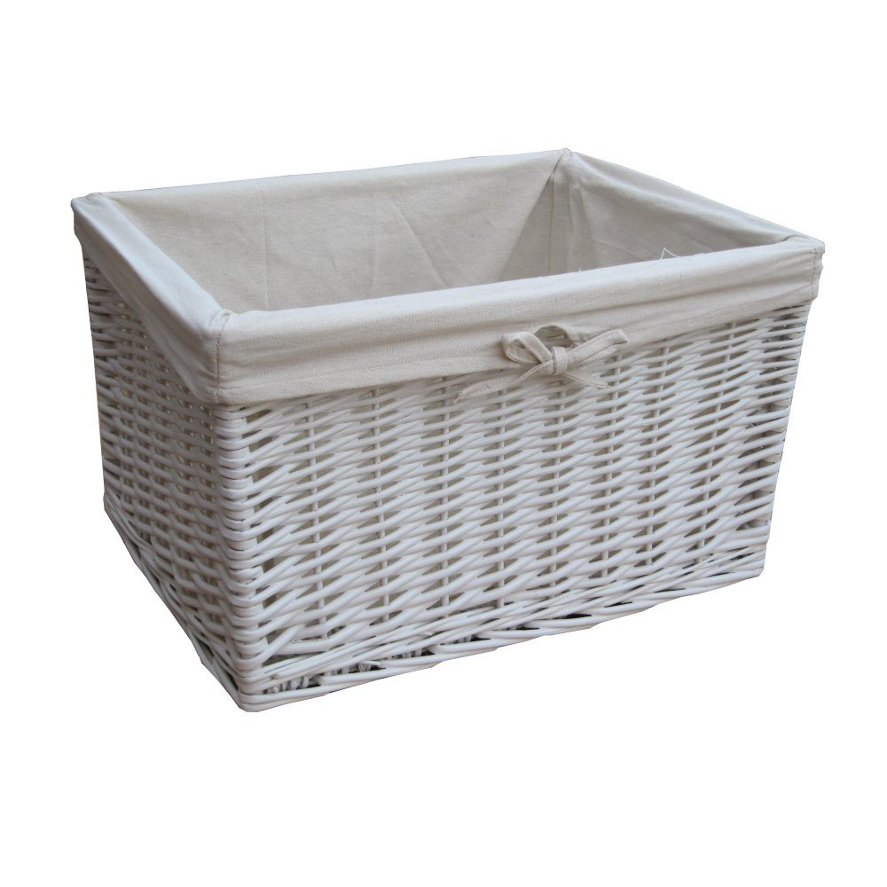 White Wicker Rectangular Deep Storage Basket within proportions 1000 X 1000