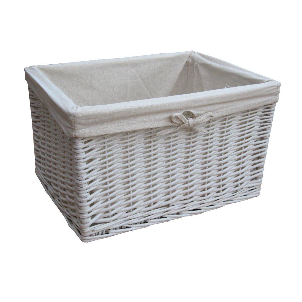 White Wicker Rectangular Deep Storage Basket within proportions 1000 X 1000