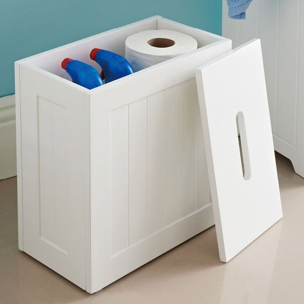 White Wooden Bathroom Toilet Roll Cleaning Storage Box regarding sizing 1000 X 1000