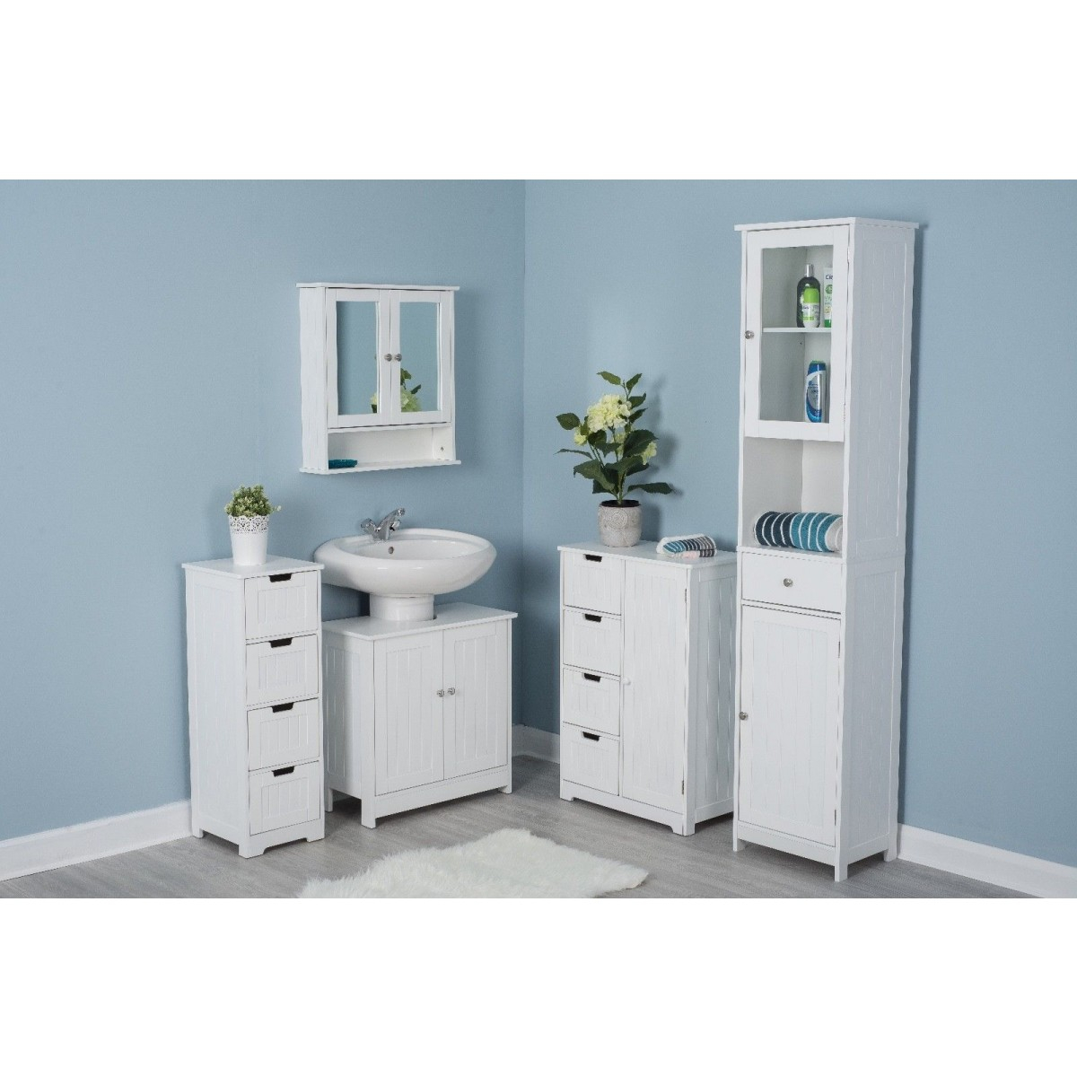 White Wooden Free Standing Bathroom Storage Cabinet Units intended for size 1200 X 1200
