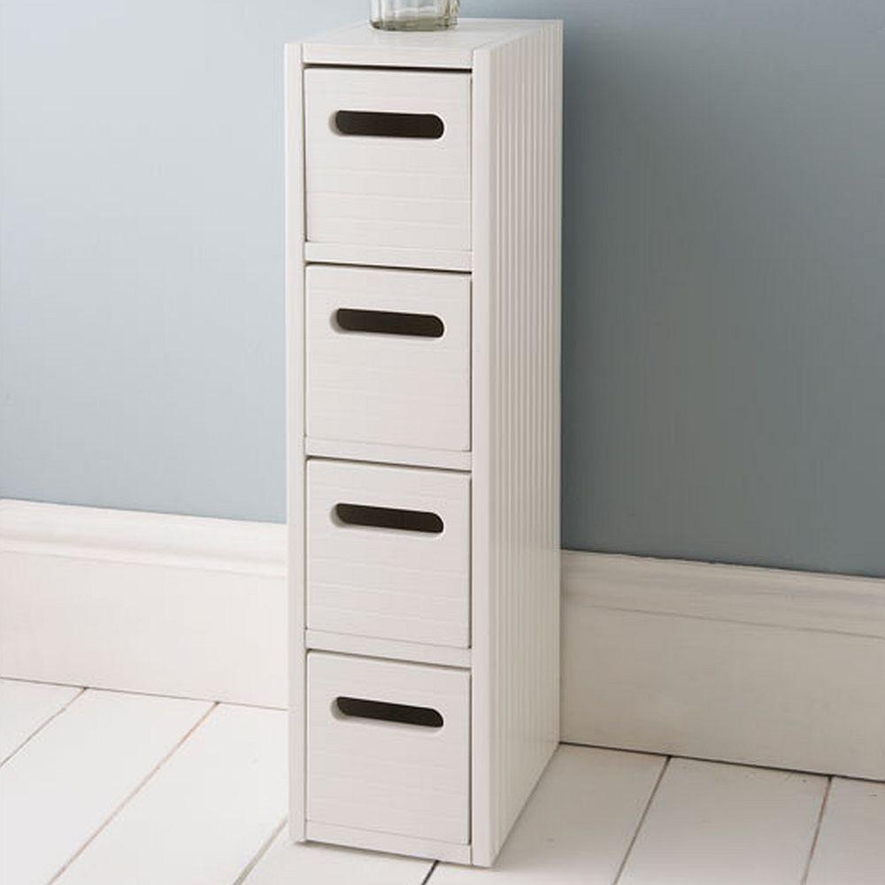White Wooden Small Slimline Bathroom Storage Drawers with regard to size 1000 X 1000