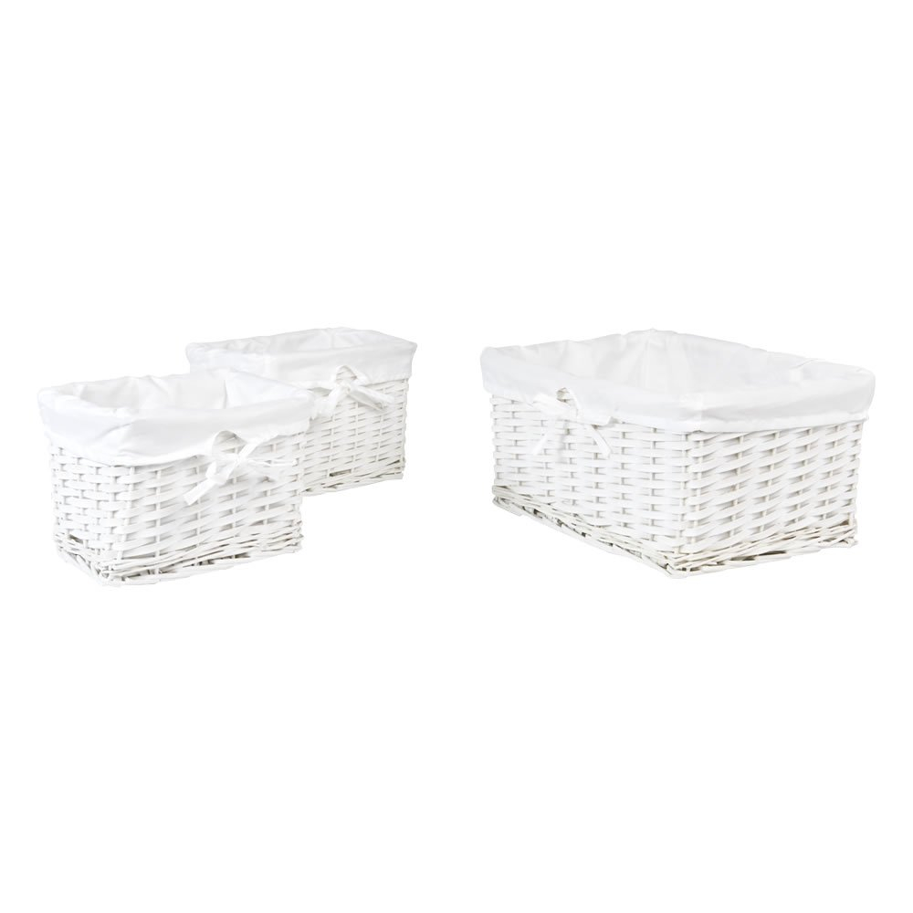 Wilko Set Of 3 White Baskets regarding dimensions 1000 X 1000