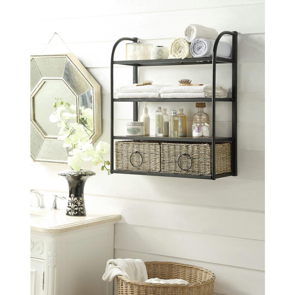Windsor 24 In W Storage Rack With Two Baskets In Brown regarding size 1000 X 1000