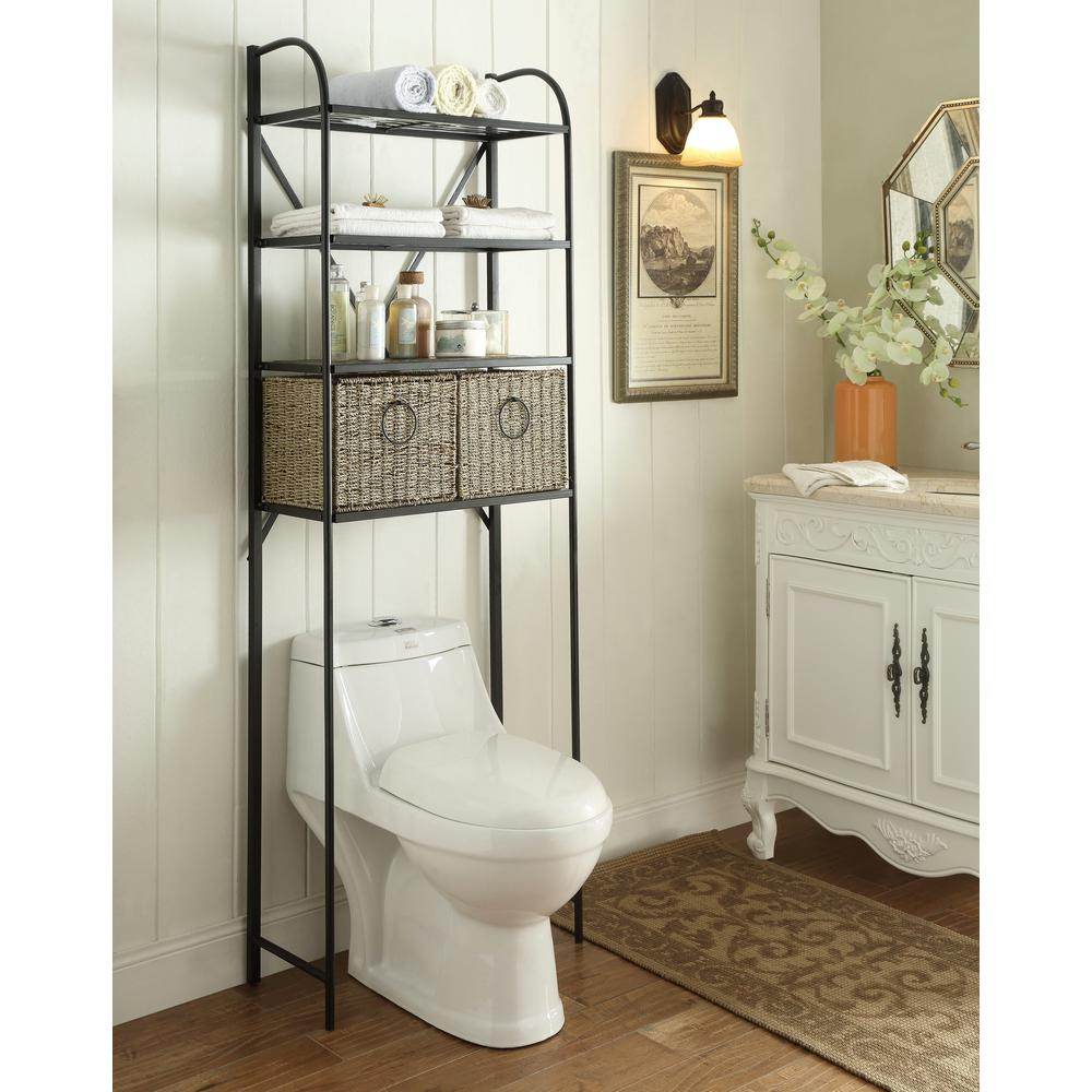 Windsor 24 In W X 715 In H X 15 In D Metal Over The Toilet Storage Space Saver With 2 Woven Baskets In Brown for dimensions 1000 X 1000