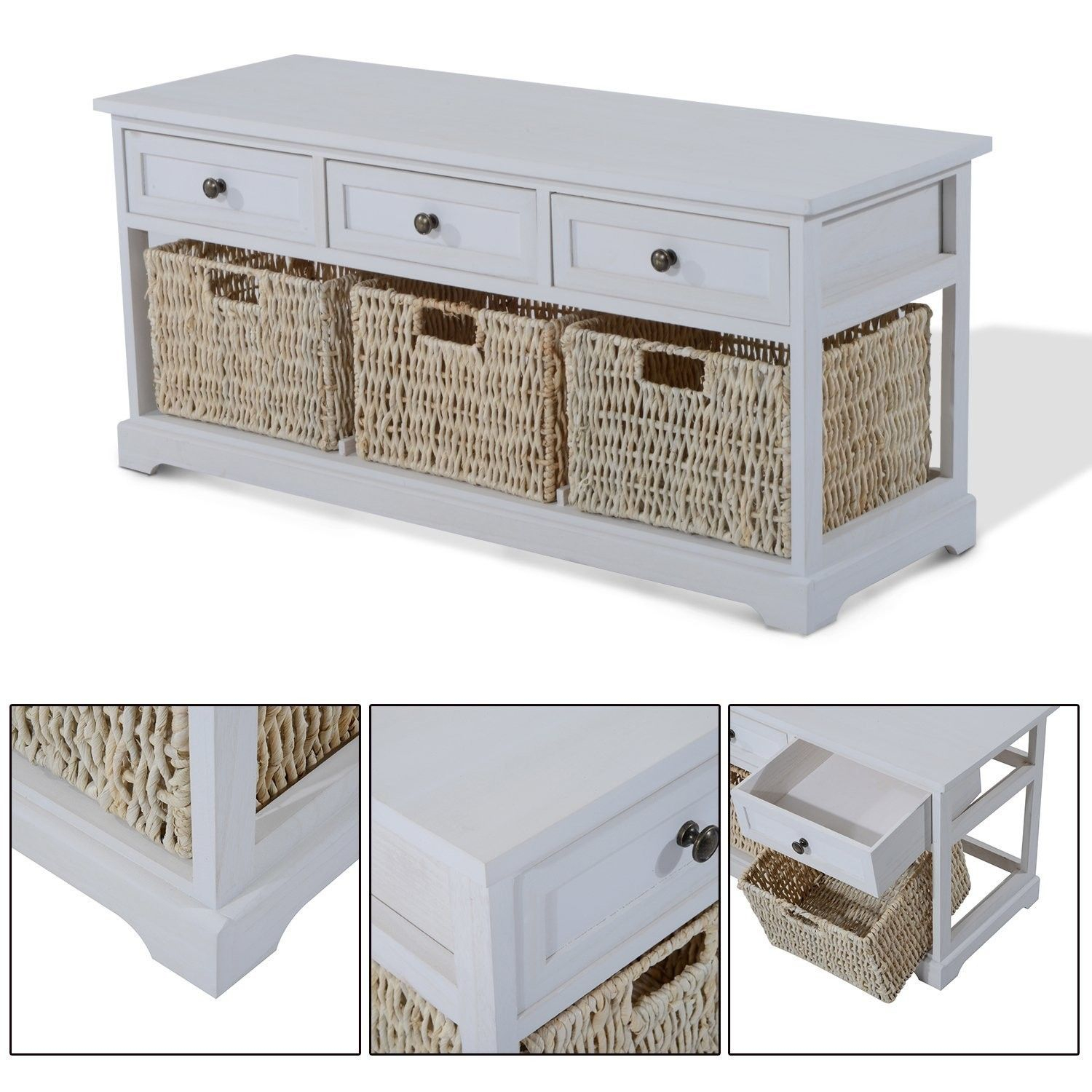 Wooden Coffee Table With Seagrass Wicker Storage Baskets regarding size 1500 X 1500