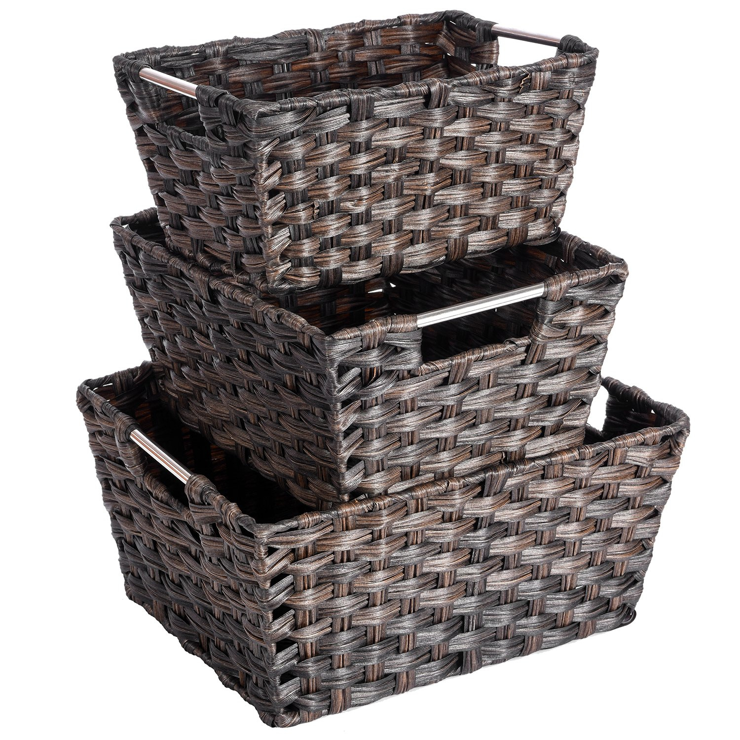 Woven Baskets Maidmax Rectangular Rattan Storage Baskets With Metal Handles For Living Room Bedroom Bathroom Kitchen Home Office Nursery Set Of 3 within measurements 1500 X 1500