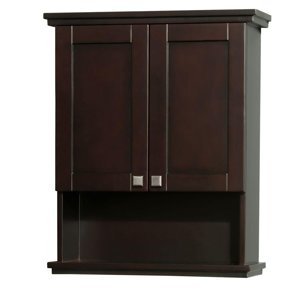 Wyndham Collection Acclaim 25 In W X 30 In H X 9 18 In D Bathroom Storage Wall Cabinet In Espresso regarding size 1000 X 1000