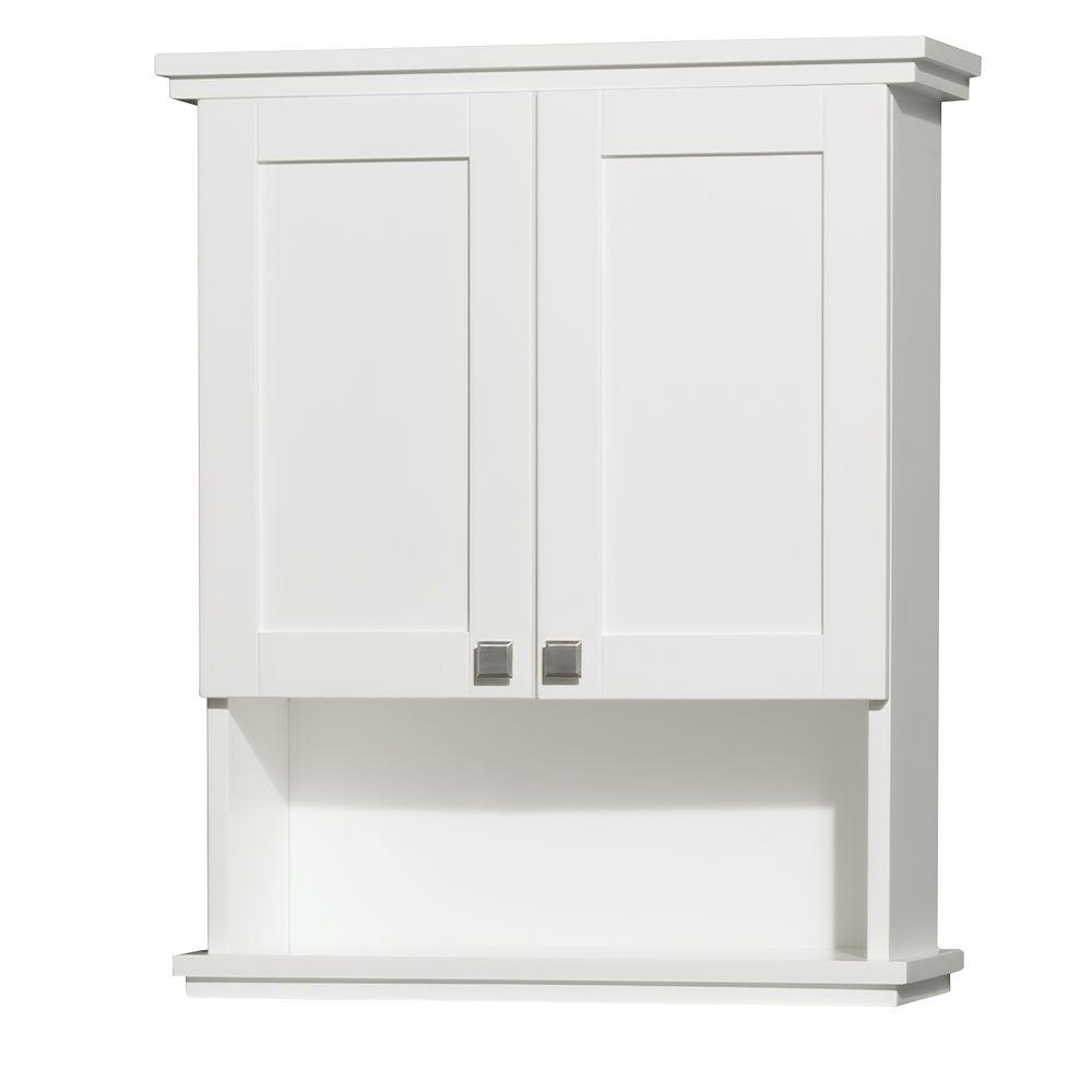 Wyndham Collection Acclaim 25 In W X 30 In H X 9 18 In D Bathroom Storage Wall Cabinet In White throughout measurements 1000 X 1000