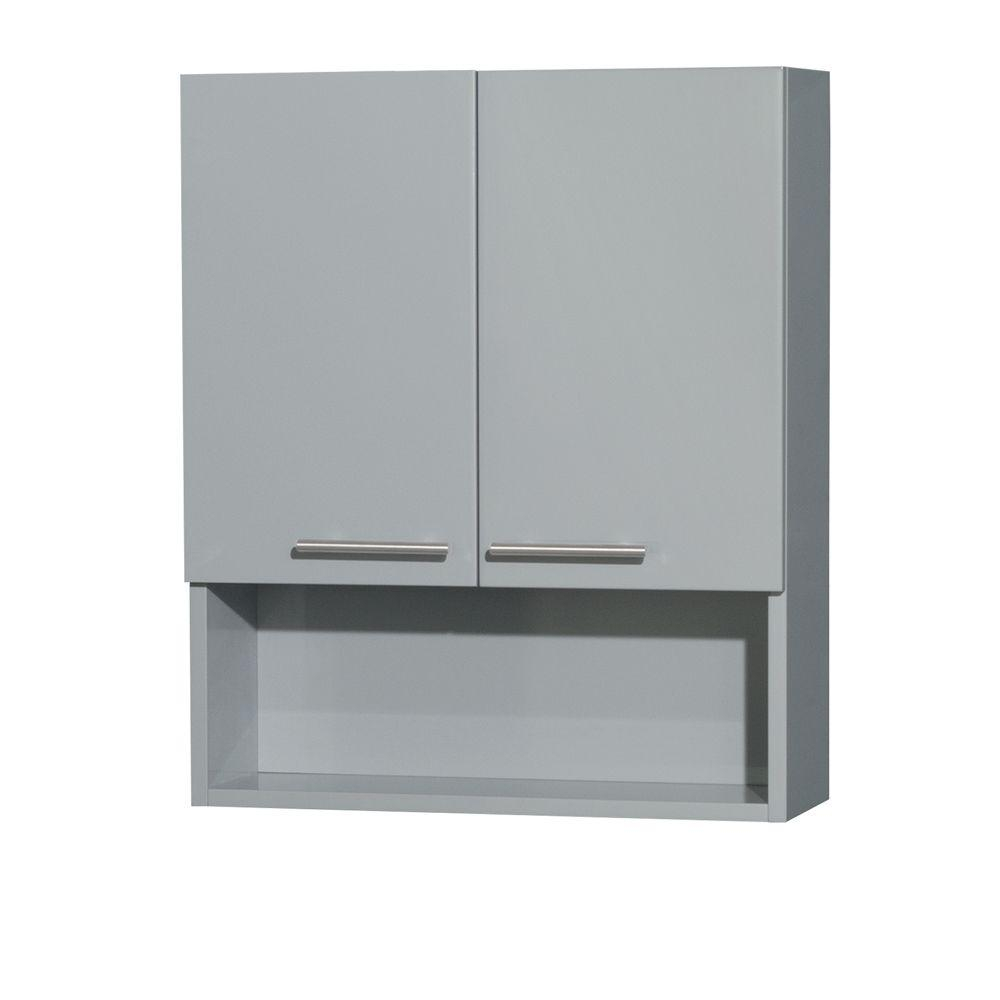 Wyndham Collection Amare 24 In W X 29 In H X 8 34 In D Bathroom Storage Wall Cabinet In Dove Gray with proportions 1000 X 1000